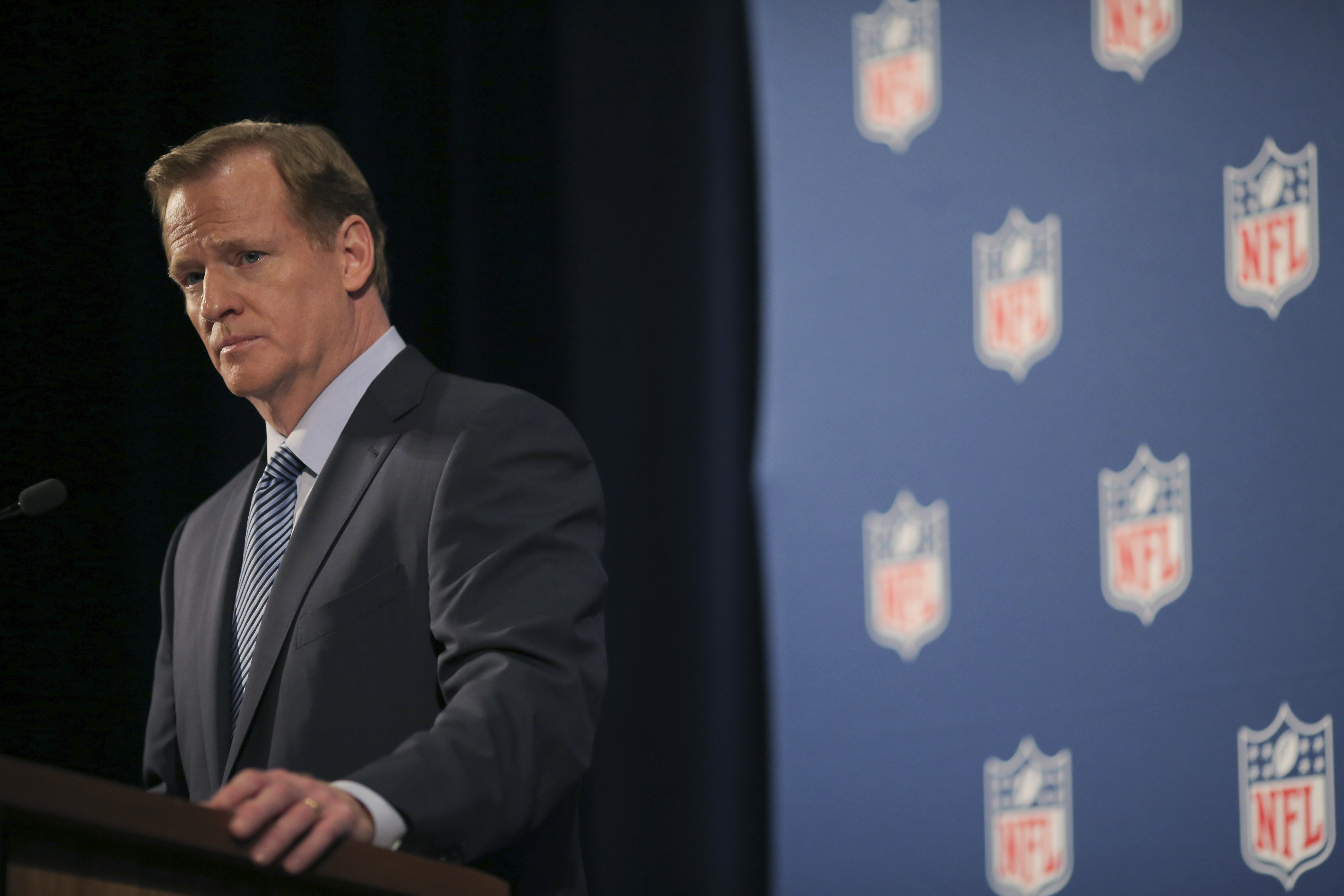 """NFL Commissioner Roger Goodell said Tom Brady's four-game suspension and the other penalties assessed the Patriots were done to preserve """"the integrity of the game."""""""