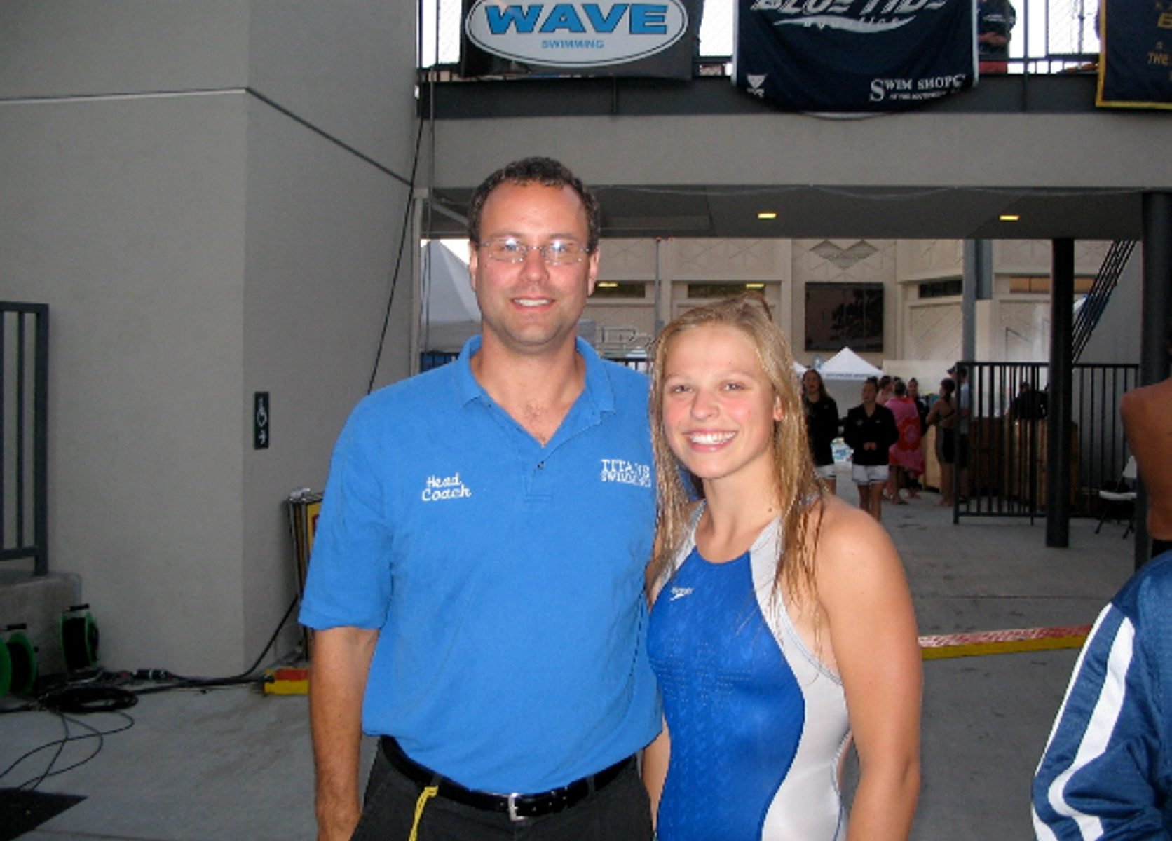 The memory of Natalie Lewis, shown with swimming coach Scott Vanderzell, lives on.