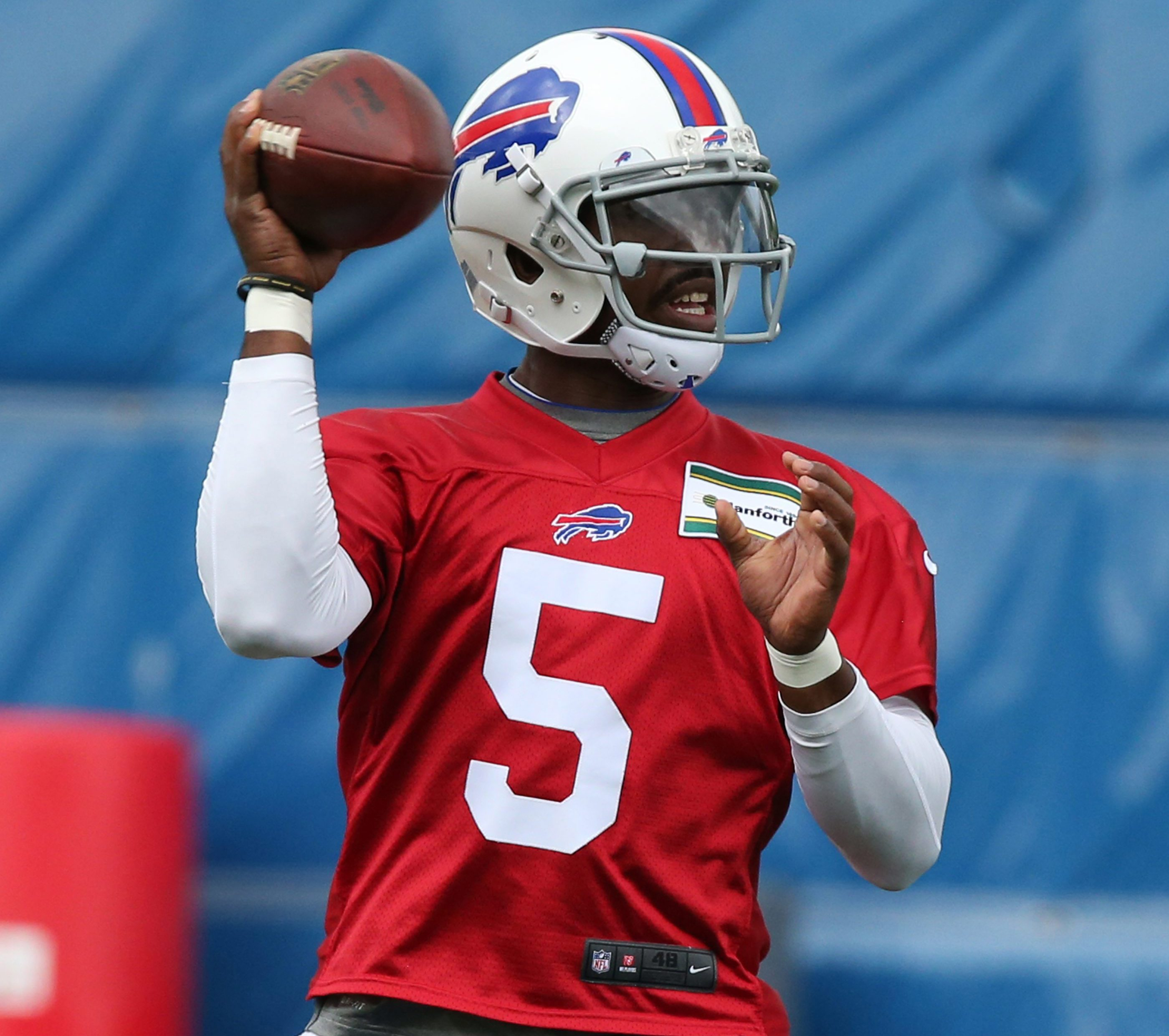 Bills quarterback Tyrod Taylor practices with the offense during the Bills OTA's at Ad Pro training center in Orchard on Wednesday.
