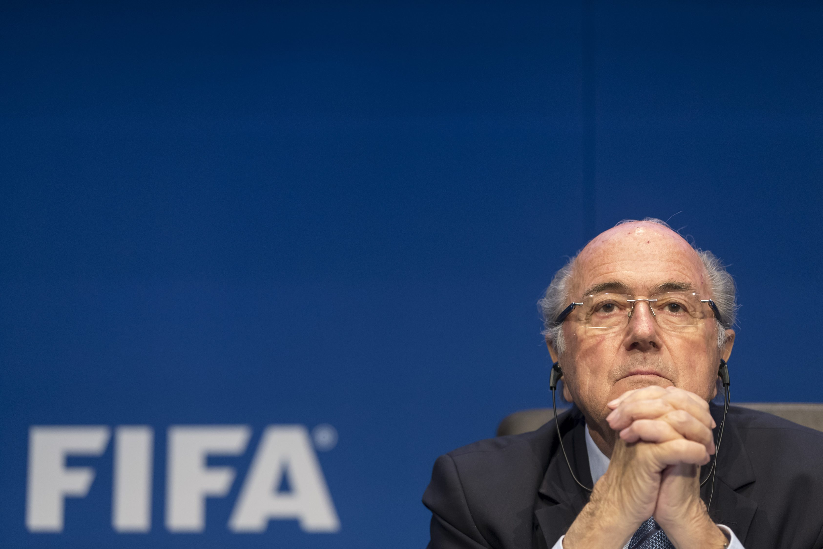 FIFA President Sepp Blatter talks to the media during a news conference in Zurich, Switzerland.