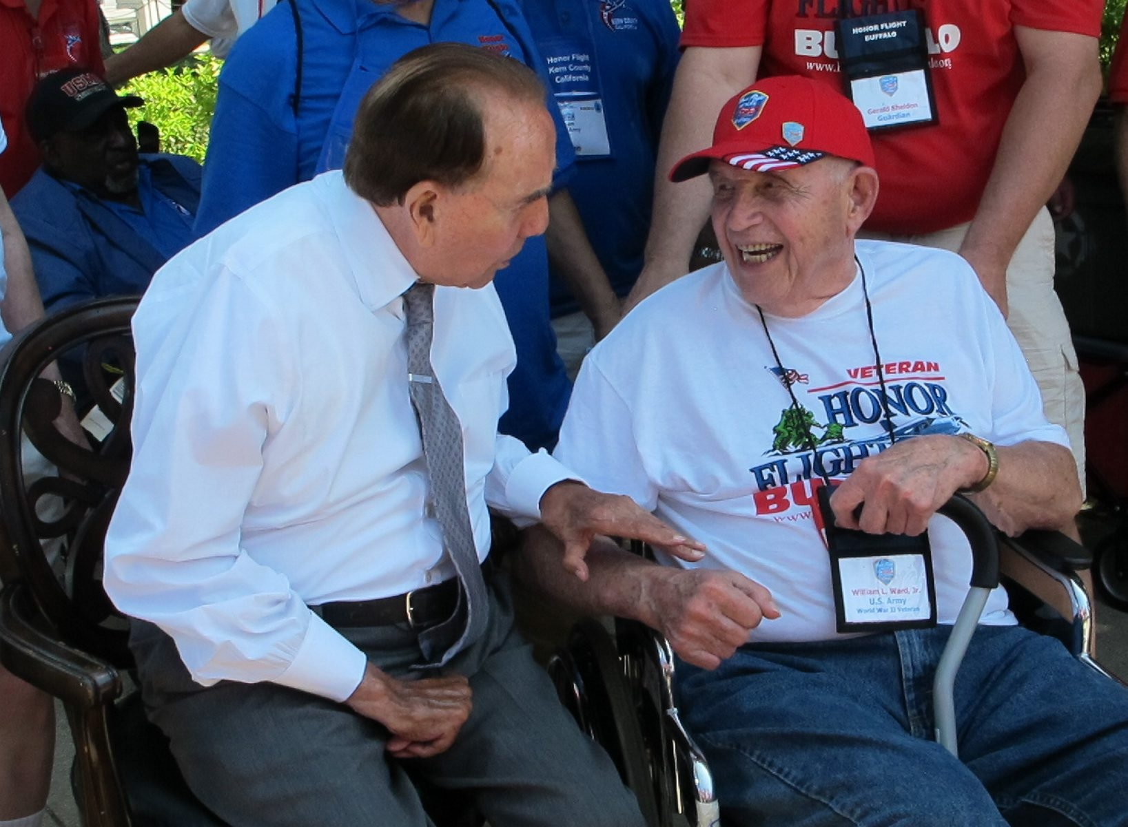 William L. Ward, an Army veteran from Newstead, shares a laugh with former Sen. Bob Dole, R-Kan., during his trip to Washington, D.C., on Saturday.