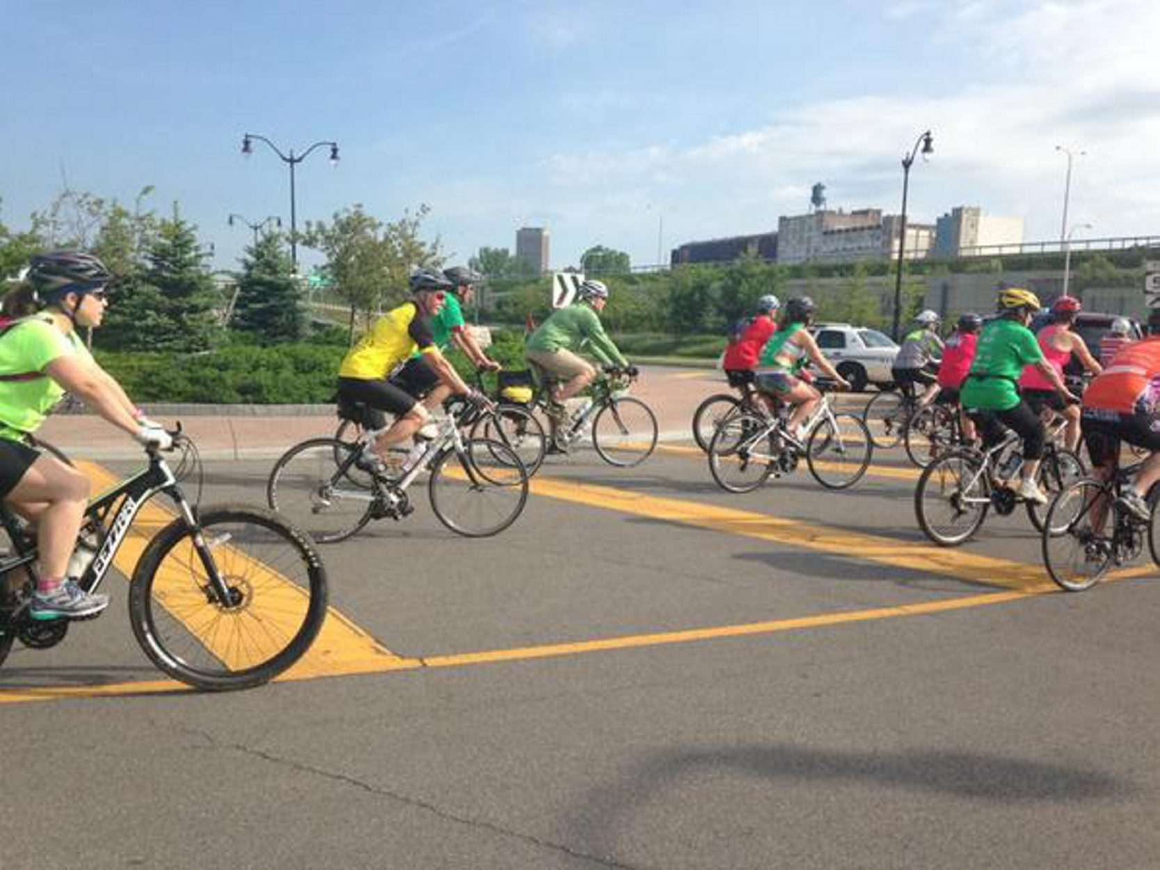 Riders at the start of the 2015 Skyride at Outer Harbor. (John Hickey/Buffalo News)
