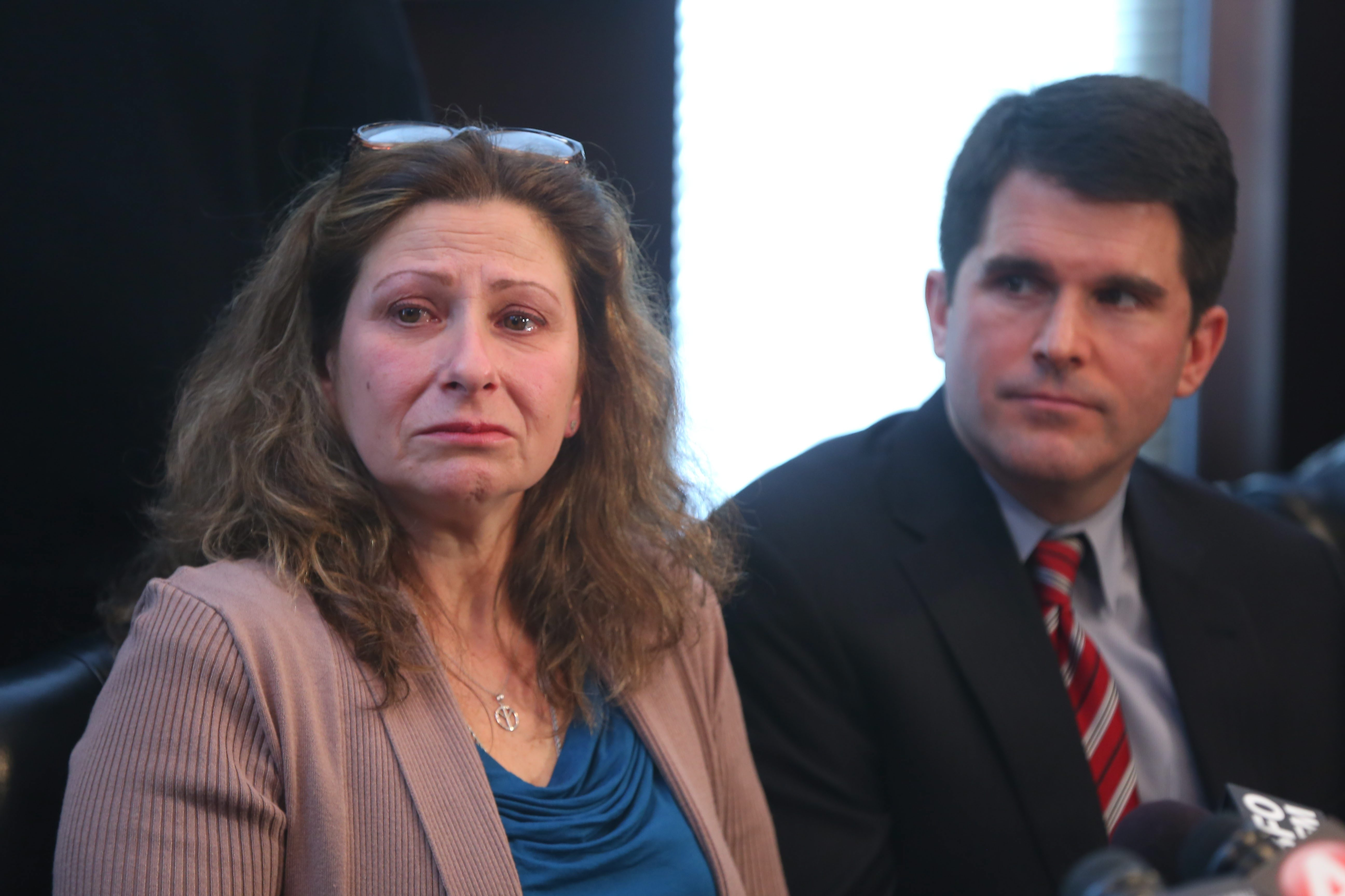 """""""The present law lets drunk drivers leave the scene of a crash with no repercussions. Why is it so hard to change that?"""" said Tammy A. Schueler, mother of Alix Rice, shown here with her attorney Lawlor F. Quinlan III in February.  (Mark Mulville/News file photo)"""