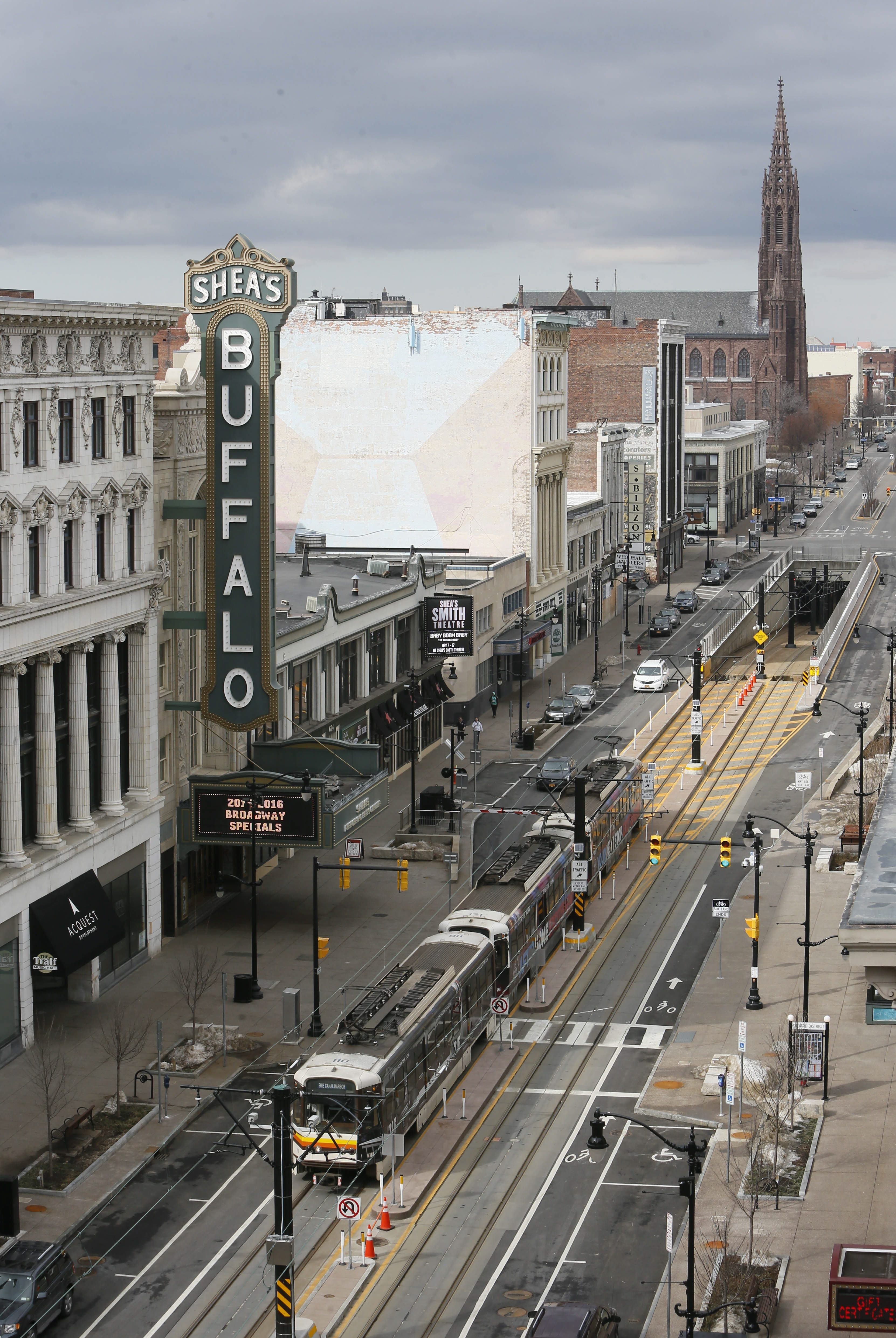 """Despite progress in Cars Sharing Main Street north of Mohawk Street, """"there's still a lot of work to be done,"""" Buffalo Place's chairman says, with an estimated cost of $70 million."""