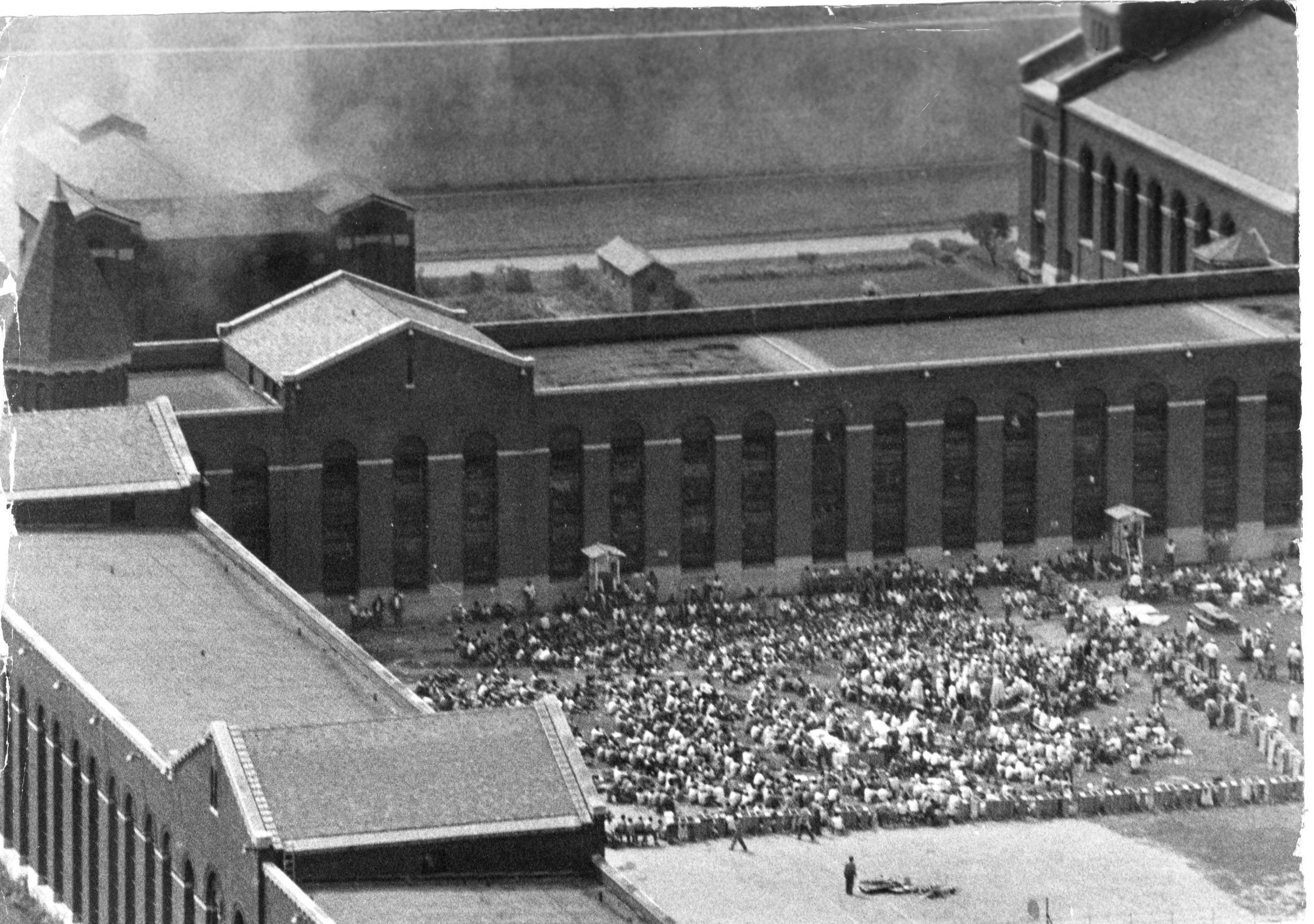 Inmates spilled into D Yard at Attica Correctional Facility before the deadly police assault on Sept. 13, 1971.