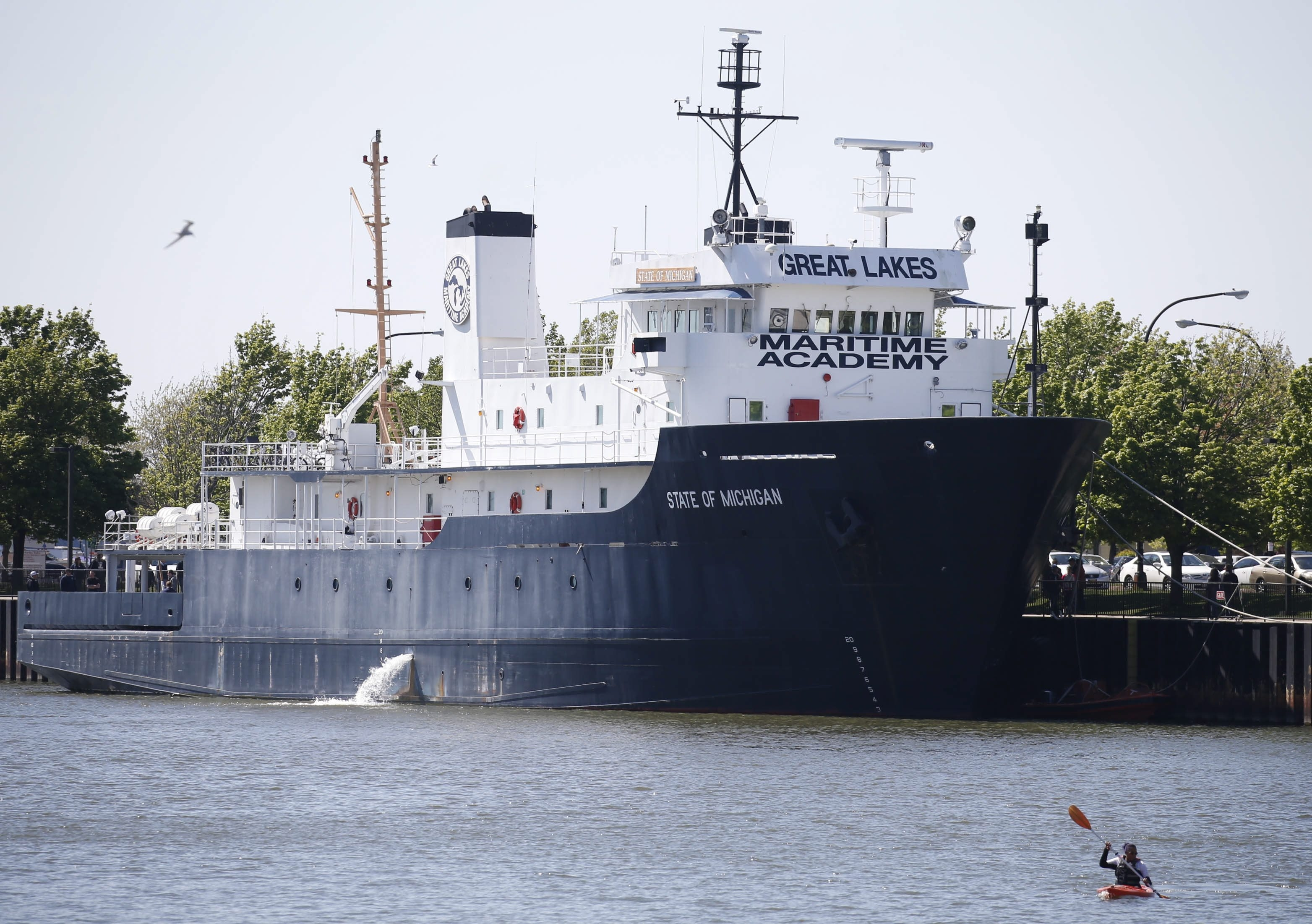 The State of Michigan, a Great Lakes Maritime Academy vessel, docked at Erie Basin Marina on Saturday. The ship is a mobile classroom for students seeking to become sailors.