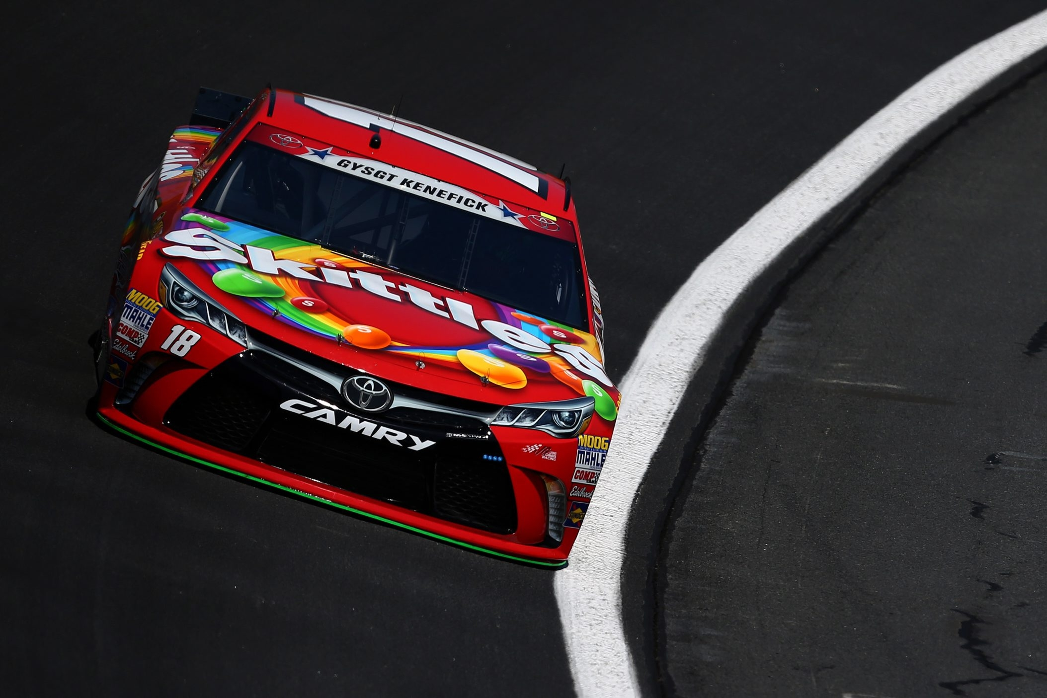 Kyle Busch's No. 18 Skittles Toyota will sport the name of slain Marine Gunnery Sgt. Aaron M. Kenefick on its windshield during the Coca-Cola 600 on Sunday in Charlotte, N.C.