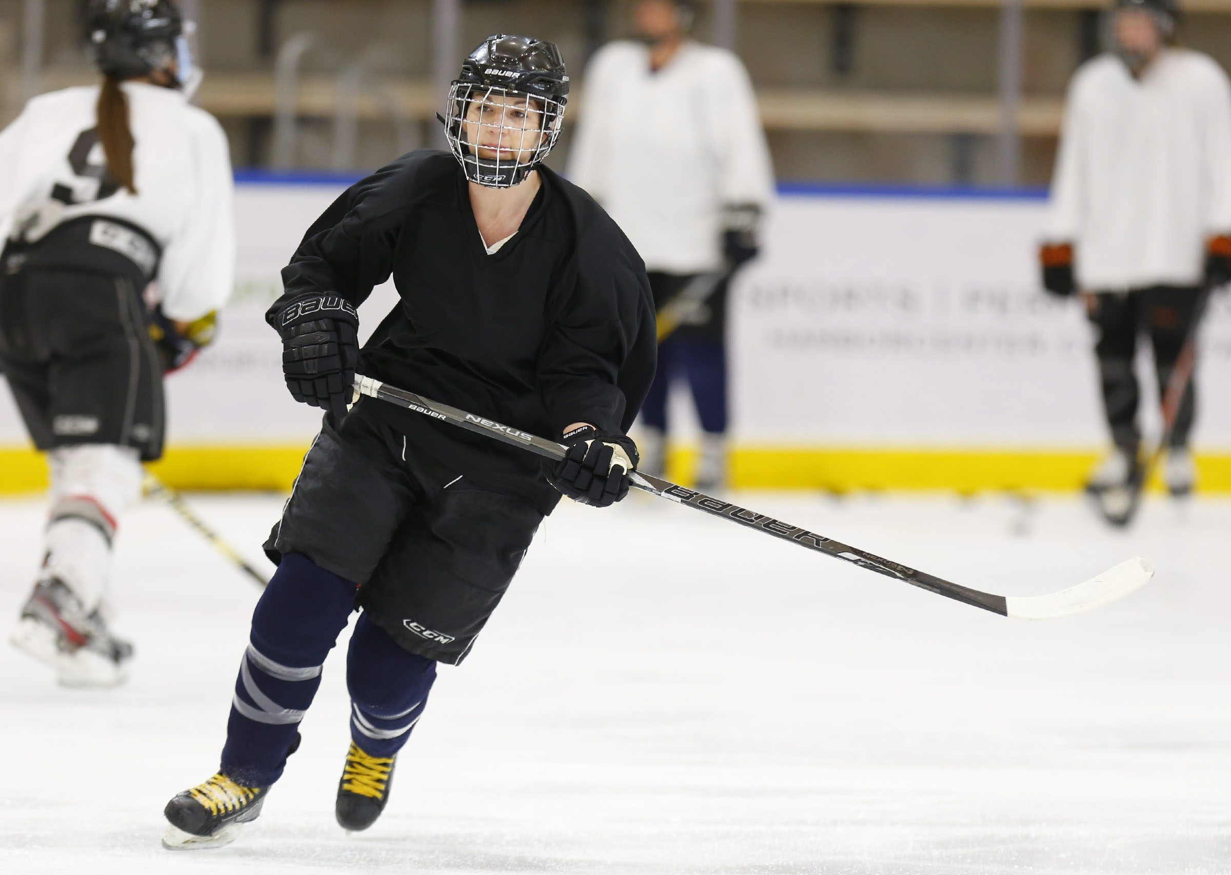 Amanda Todd of Lancaster and Syracuse University goes through drills during the National Women's Hockey League training camp at the HarborCenter on Saturday.