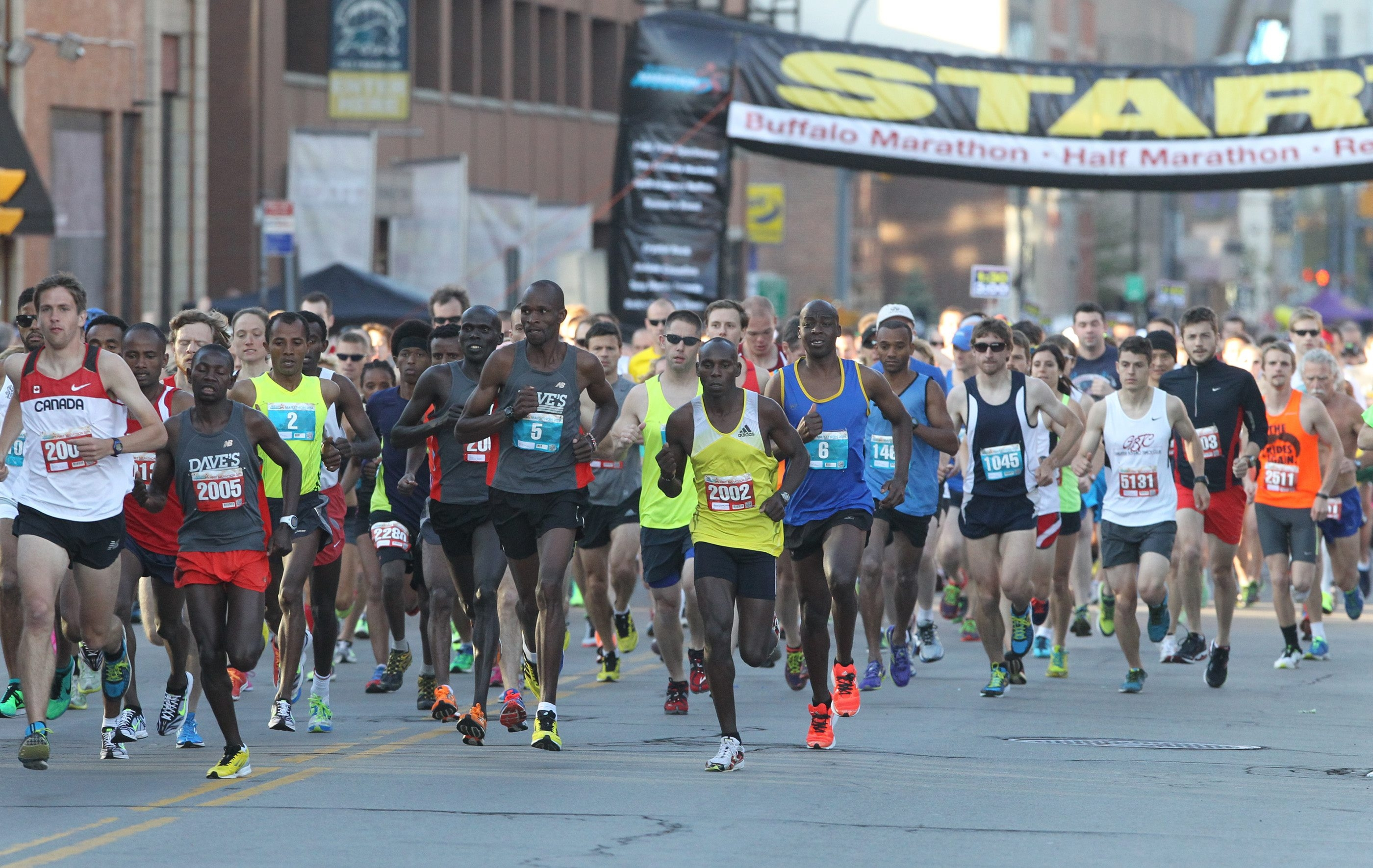 The 2014 Buffalo Marathon started on Franklin Street. This year's race will begin on Delaware Avenue, to give runners more breathing room, according to new race director Greg Weber. The marathon, half-marathon and marathon relay are all sold out.