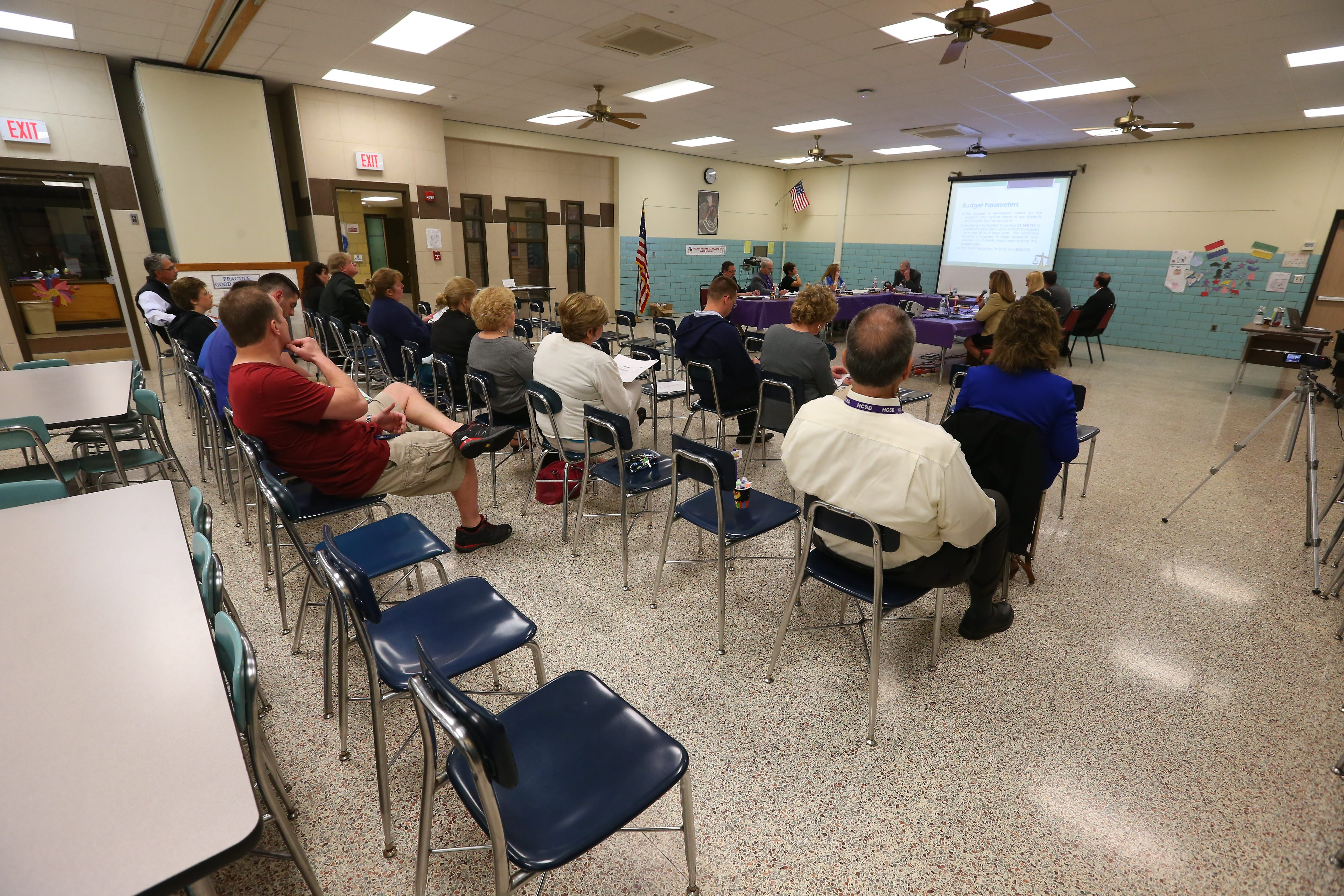 Calm has returned to Hamburg School Board meetings, as evidenced by the small turnout at a recent meeting.