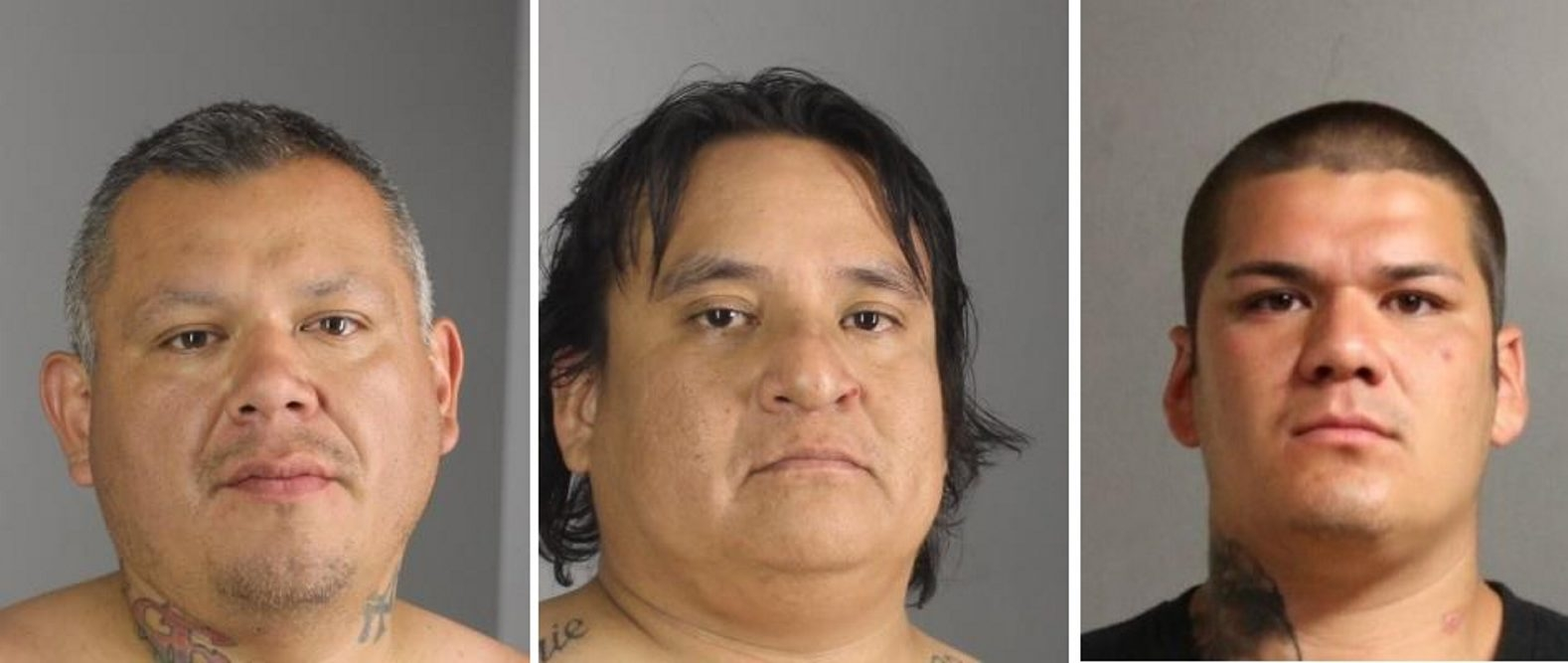 Four lines .... Charged in connection with shots fired in the Town of Collins Sunday are, from left,: Jonathan Seneca, 34 of Brant, Joshua Benton, 38, of Irving and William Larkin, 26, of Evans. (Photos provided by Erie County Sheriff's Department)