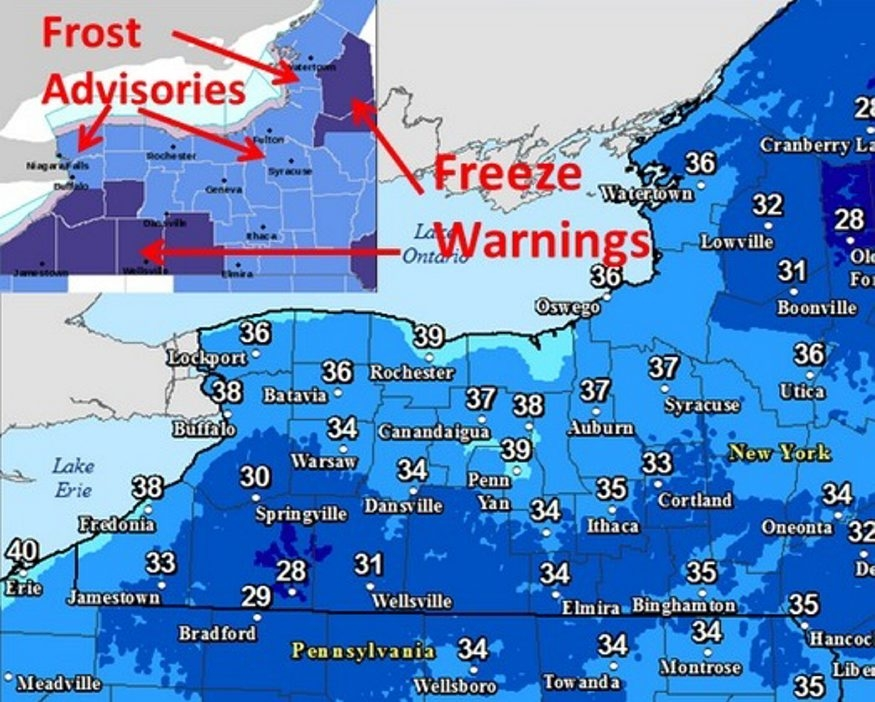 National Weather Service map notes areas of freeze warning, frost advisory.