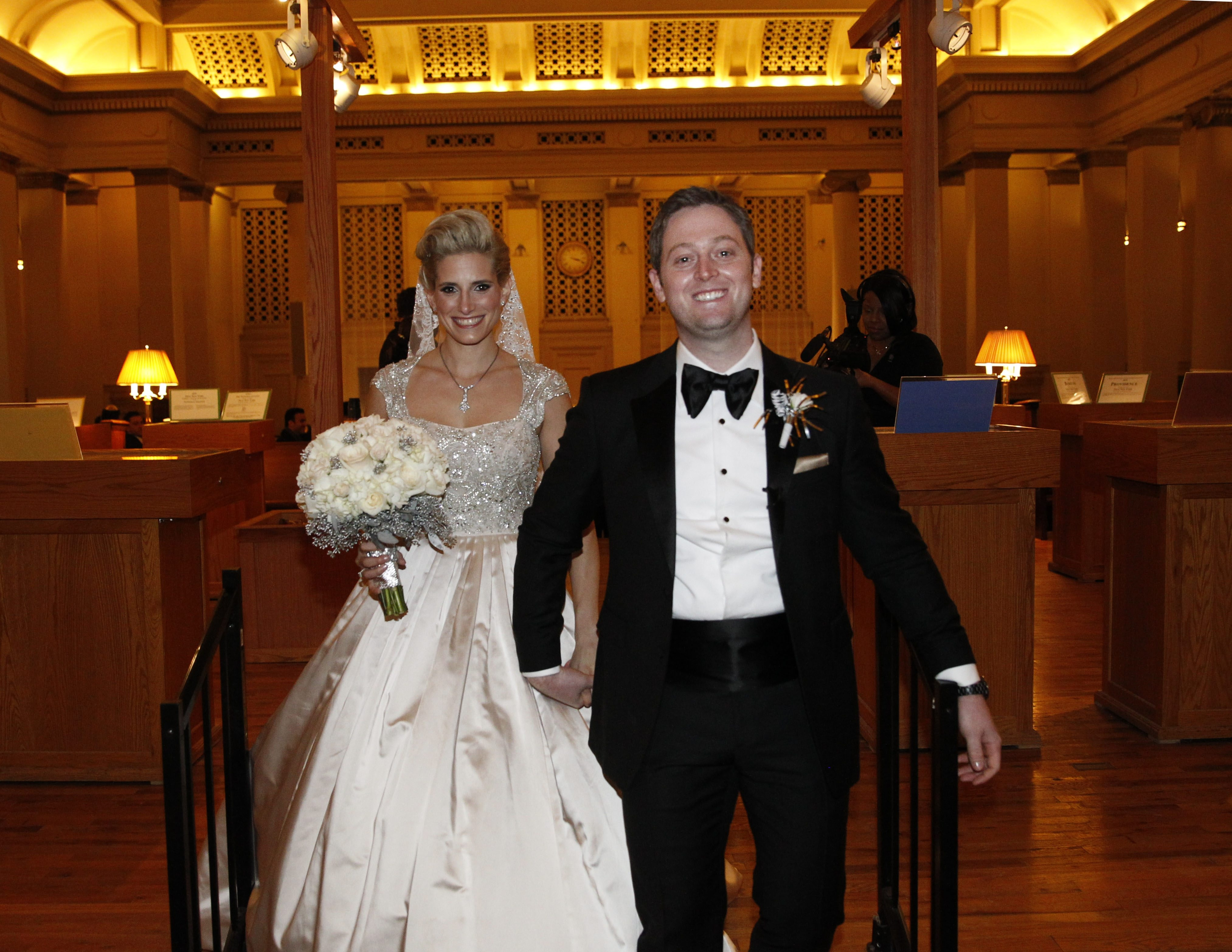 """Zabrina Reich and Frankie Jacobi are shown at their wedding in the Karpeles Manuscript Library on Dec. 31, 2014. The bride, whose search for a wedding gown was seen on the reality show """"Say Yes To The Dress,"""" will be seen on a new episode of the TLC show Friday. (Sharon Cantillon/News file photo)"""