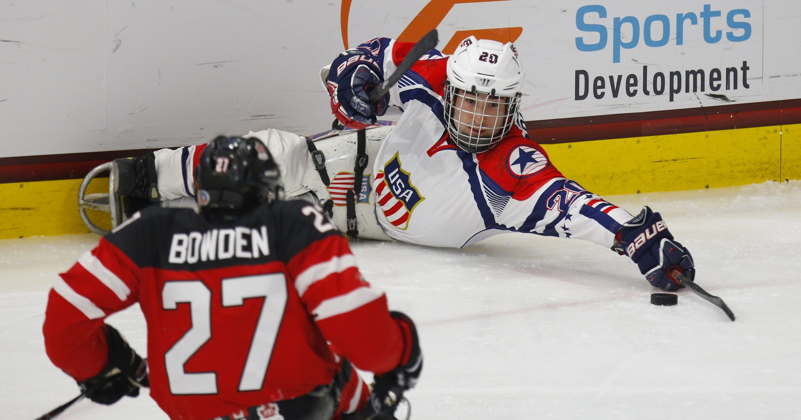 USA's Adam Page looks to pass against Canada in Sunday's gold medal game at HarborCenter on Sunday.