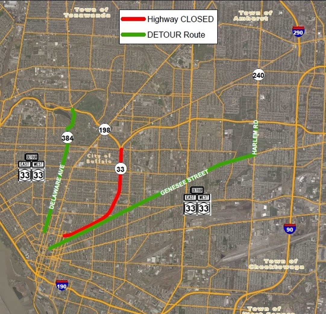 """Map provided by the state DOT shows lane closures, detours planned during nighttime filming for """"Teenage Mutant Ninja Turtles 2"""" movie."""