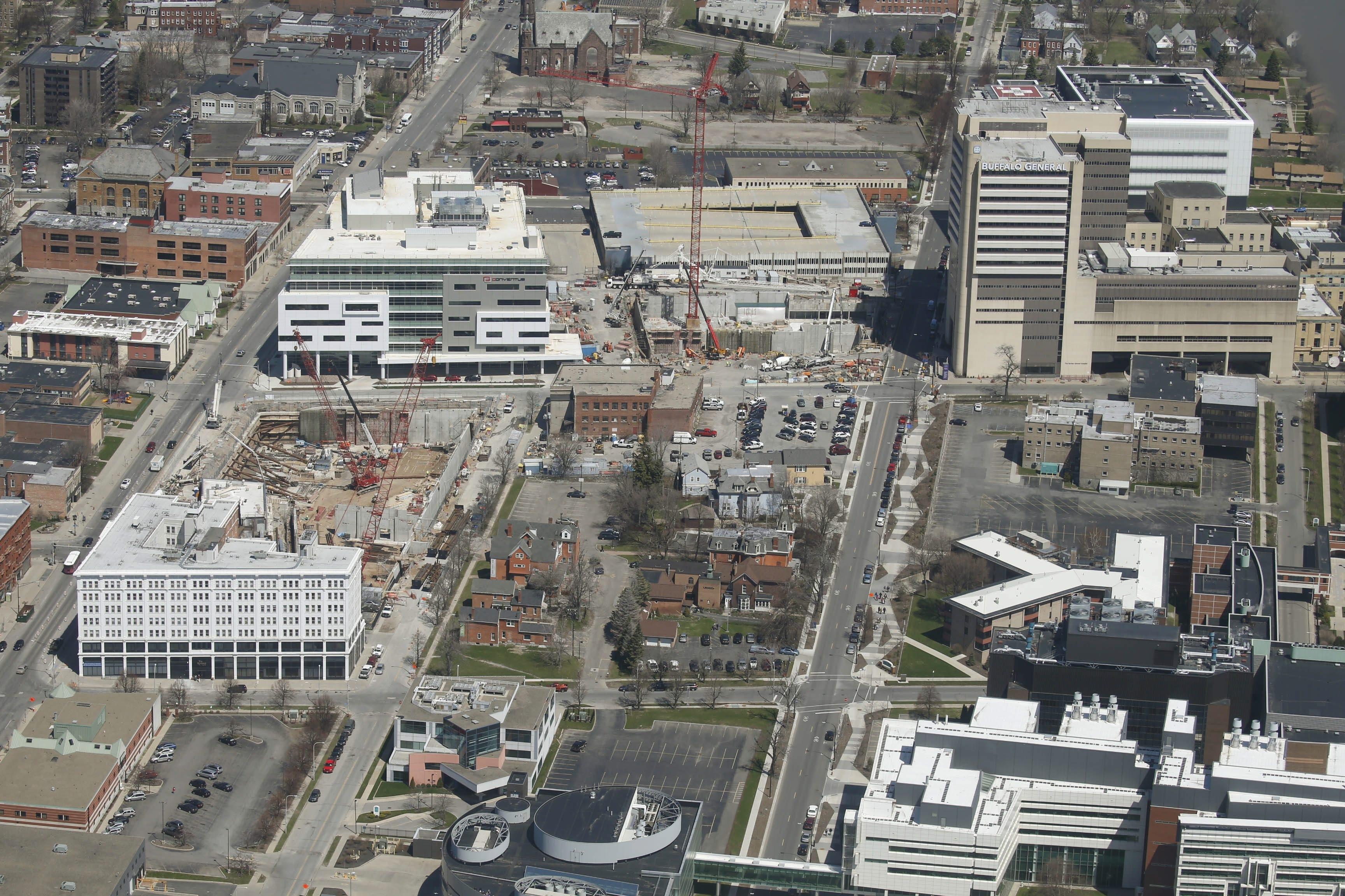 Aerial photograph of the Buffalo Niagara Medical Campus shows the new UB medical school site on the left.  (Robert Kirkham/Buffalo News)