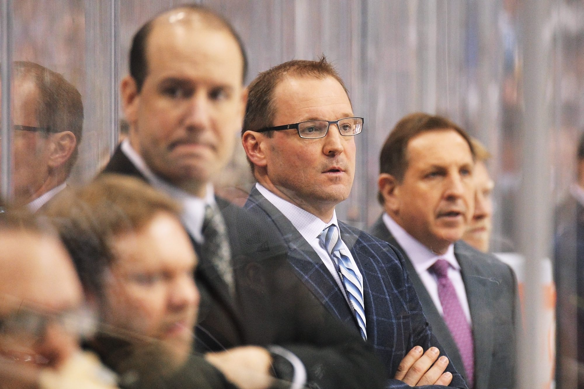 PITTSBURGH, PA - MAY 13:  Head Coach Dan Bylsma of the Pittsburgh Penguins watches his team play the New York Rangers in the first period of Game Seven of the Second Round of the 2014 NHL Stanley Cup Playoffs on May 13, 2014 at CONSOL Energy Center in Pittsburgh, Pennsylvania. New York defeated Pittsburgh 2-1 to advance to the next round.  (Photo by Jamie Sabau/Getty Images)