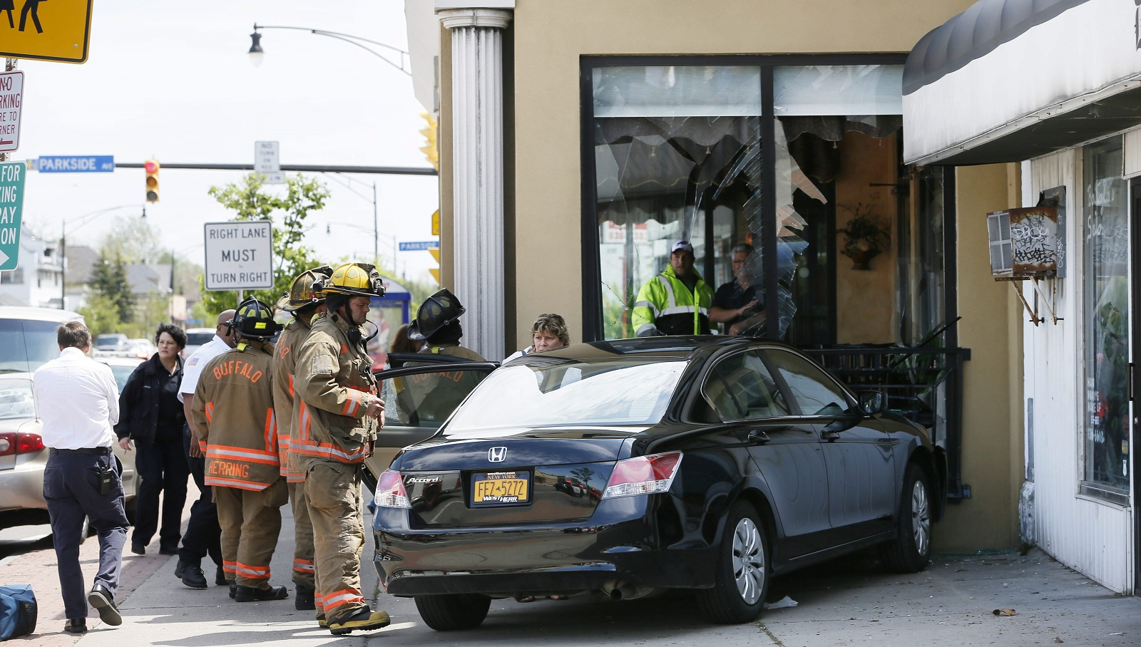 A detailed Google Map tracks the instances of a car crashing into a building in Western New York. Kostas on Hertel was the most recent example. (Derek Gee/Buffalo News)