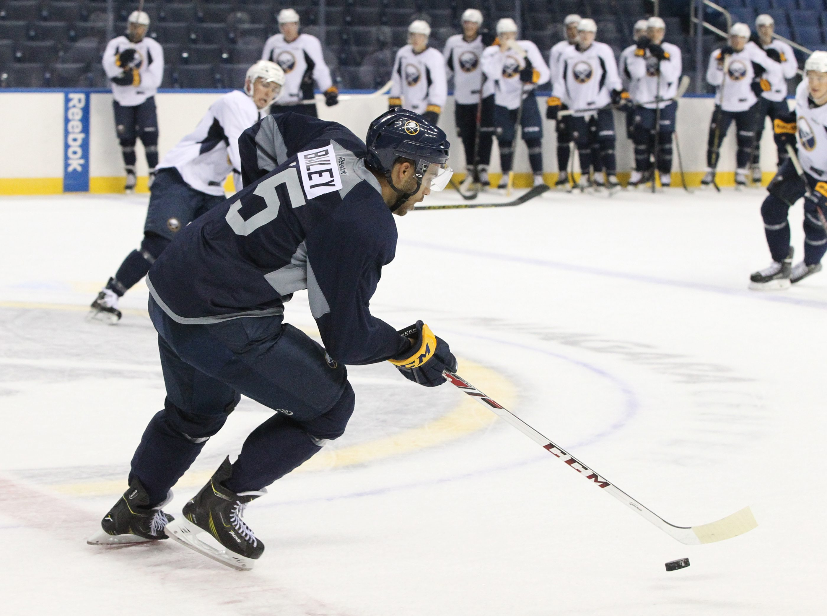 Many of the subjects in this organizational depth chart series -- like Justin Bailey -- have only seen action in past developmental camps, like this one in 2014.  (James P. McCoy/ Buffalo News)
