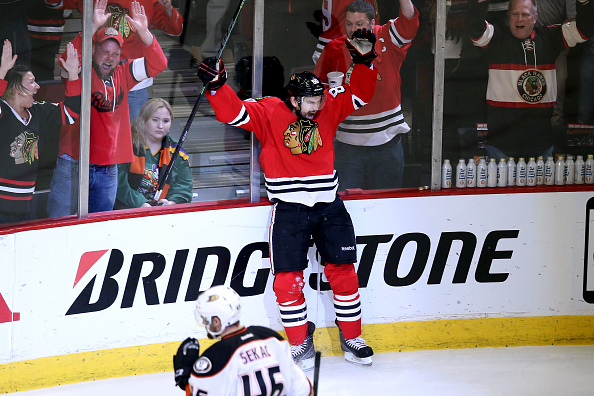 Antoine Vermette celebrates his winning goal in double overtime of Game Four late Saturday night (Getty Images).