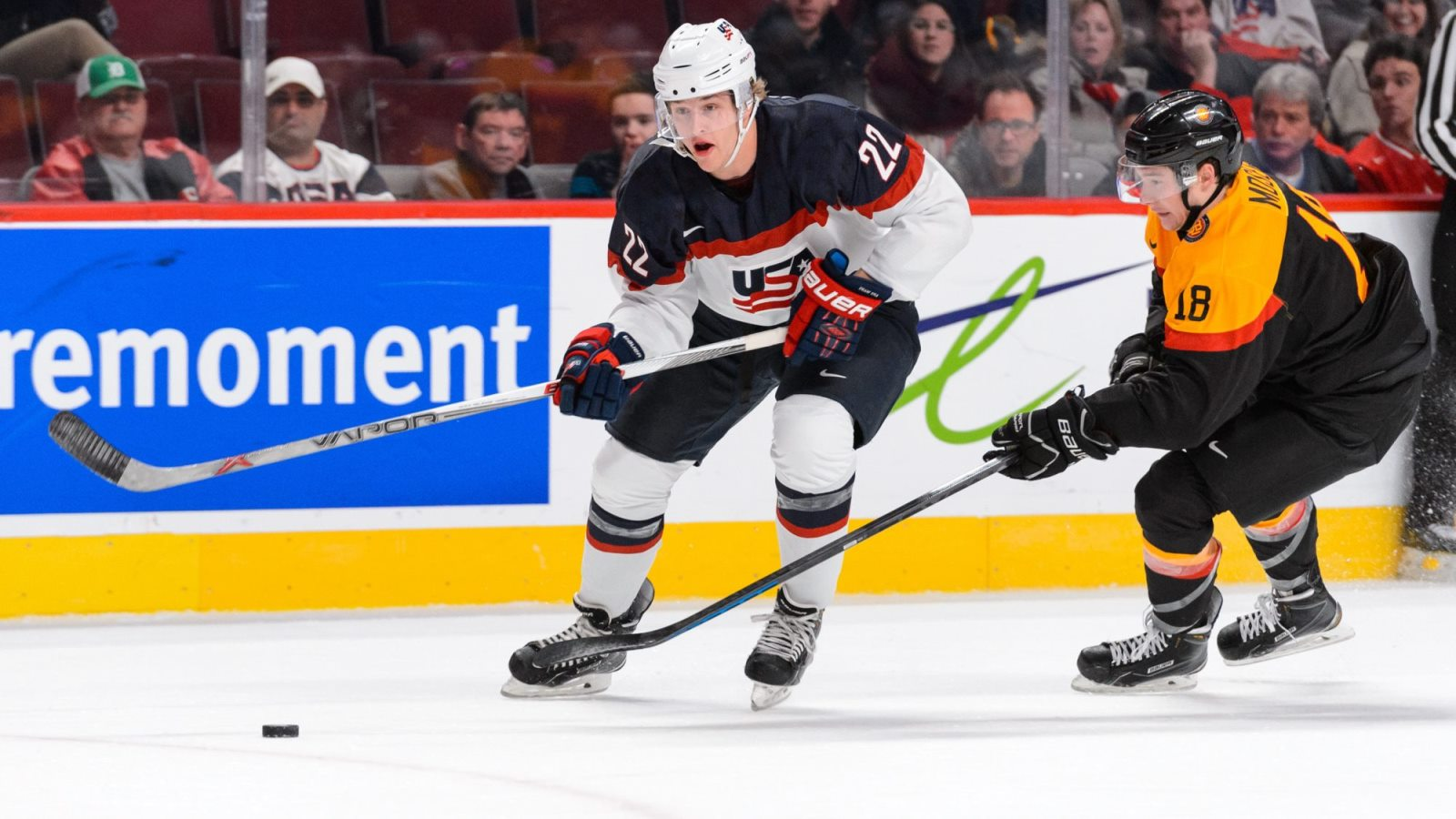 The 6-foot-2, 207-pound Hudson Fasching will reach his prime at the same time as Sam Reinhart and Jack Eichel. (Getty Images)