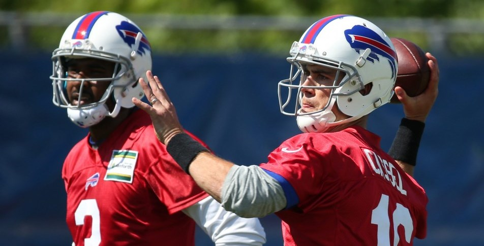 EJ Manuel and veteran Matt Cassel are part of the much-discussed quarterback question for the Bills. (James P. McCoy/Buffalo News)