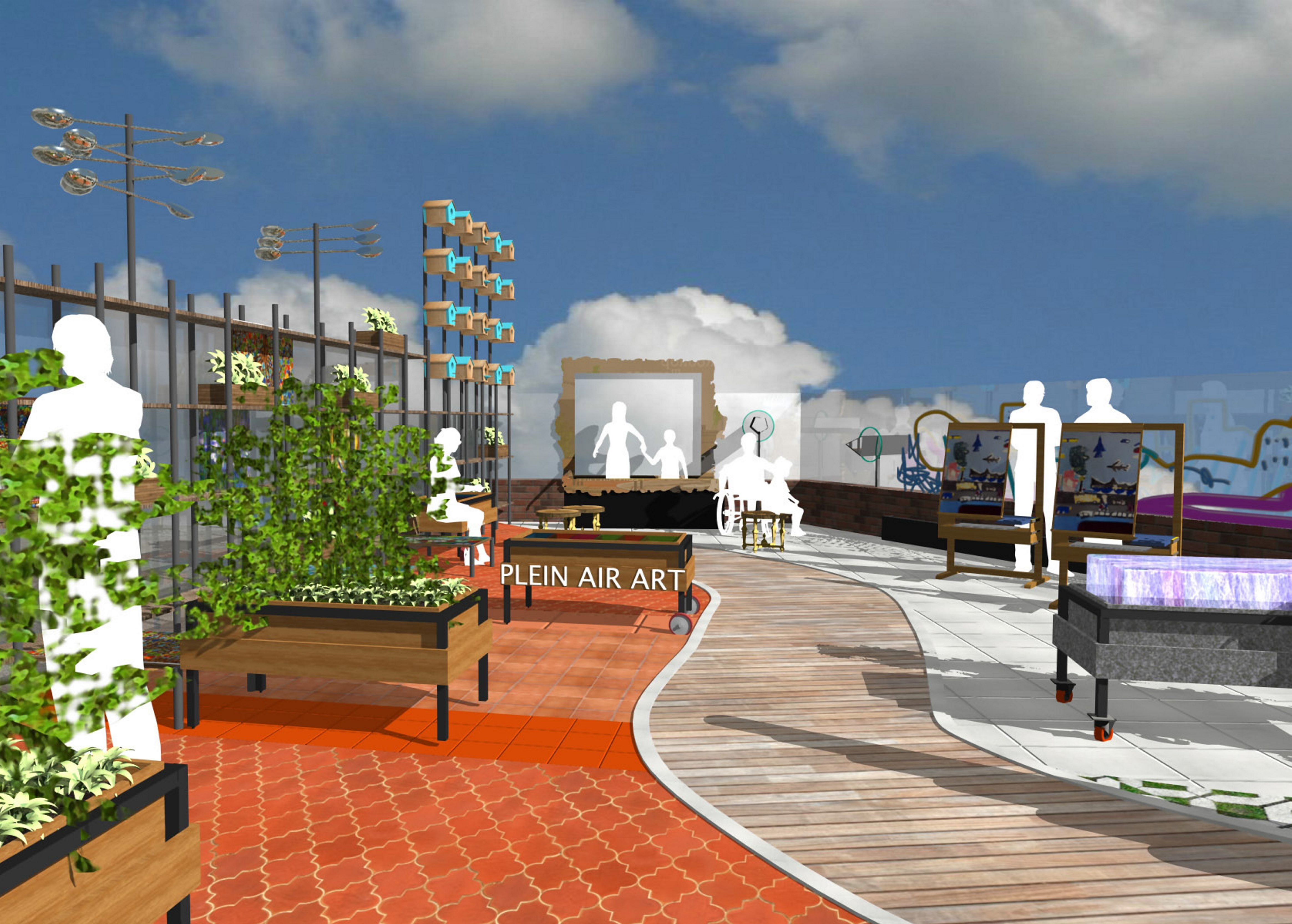 The ambitious plan for a Canalside children's museum included this sketch of a rooftop  space for art and gardening activities.
