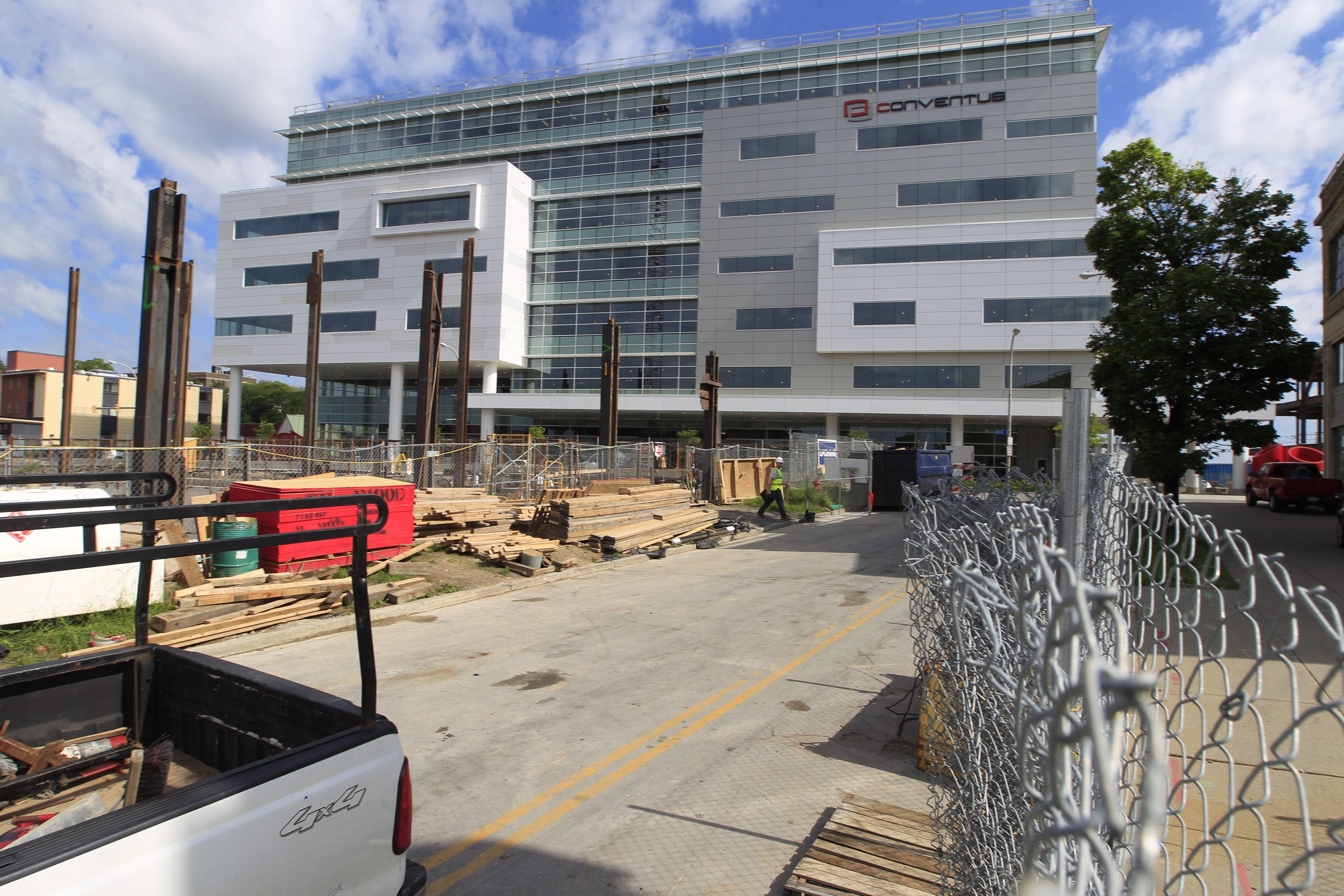 The top two floors of the Conventus building, still under construction on the Medical Campus, will be home to major players in the biotech field.