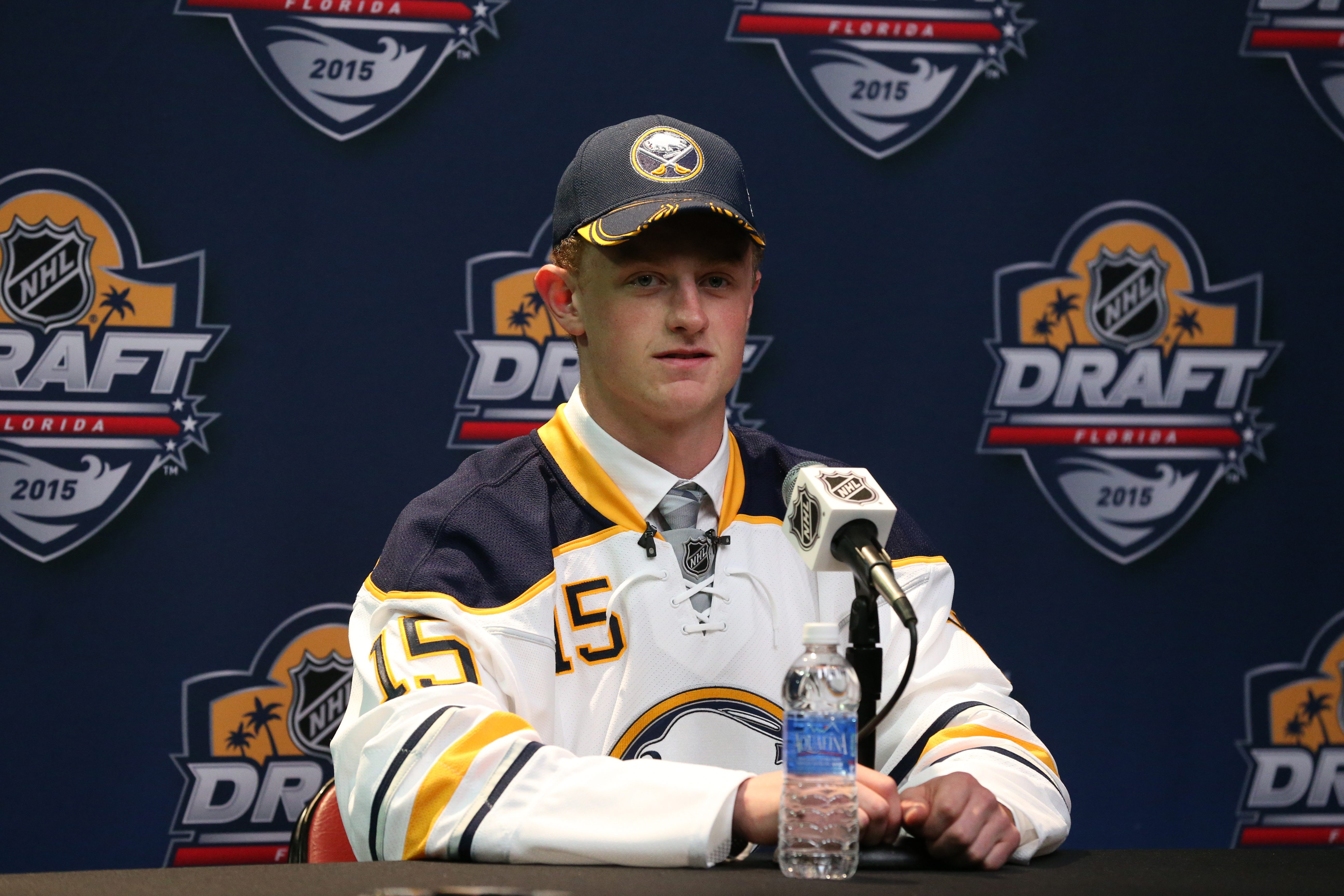 Jack Eichel will wear No. 15 -- as he did on draft night -- for the Sabres. (James P. McCoy/Buffalo News)