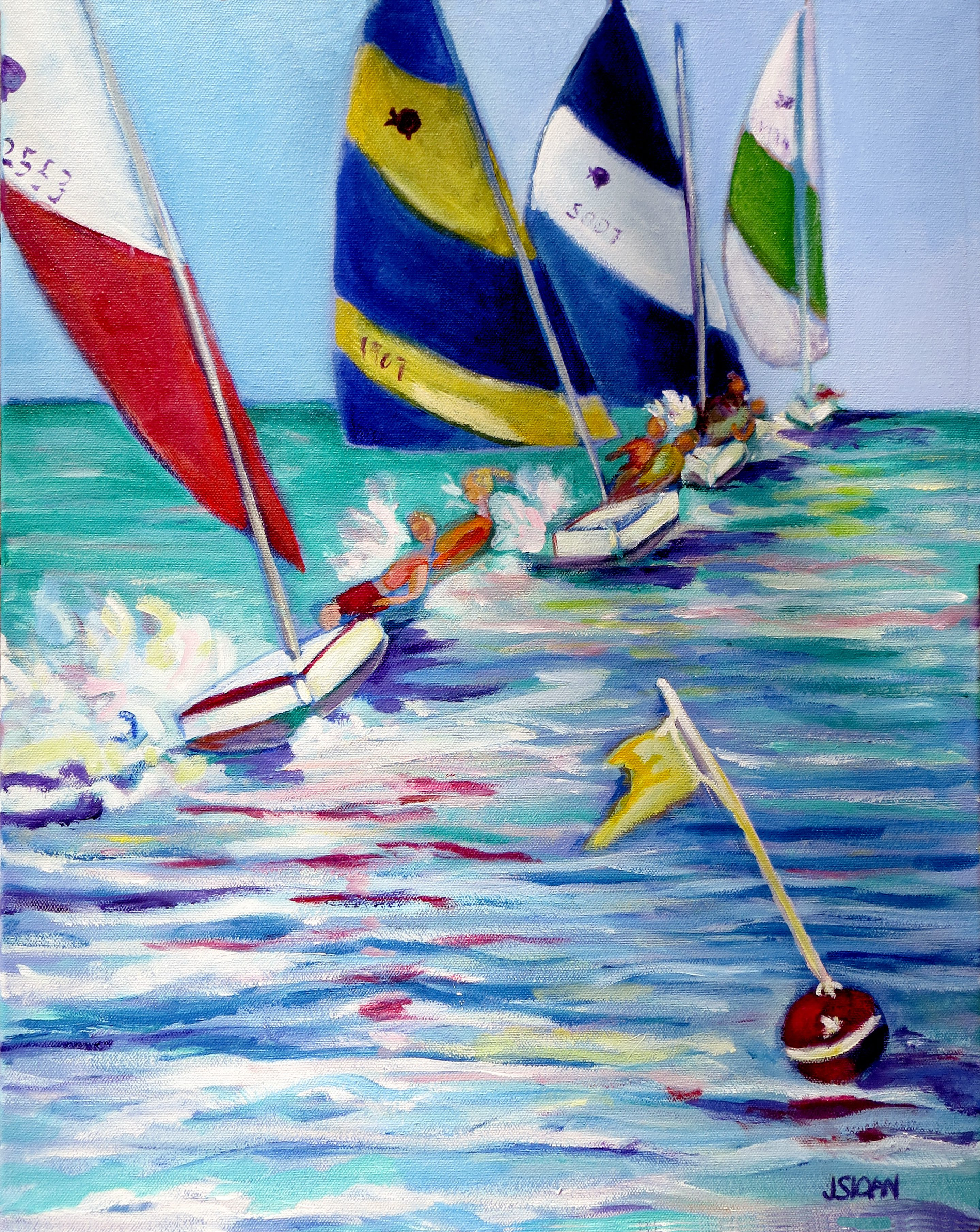 """""""First at the Mark,"""" a painting by Joanne Sloan, is on view in the Jewish Community Center on Delaware Avenue through Aug. 26."""