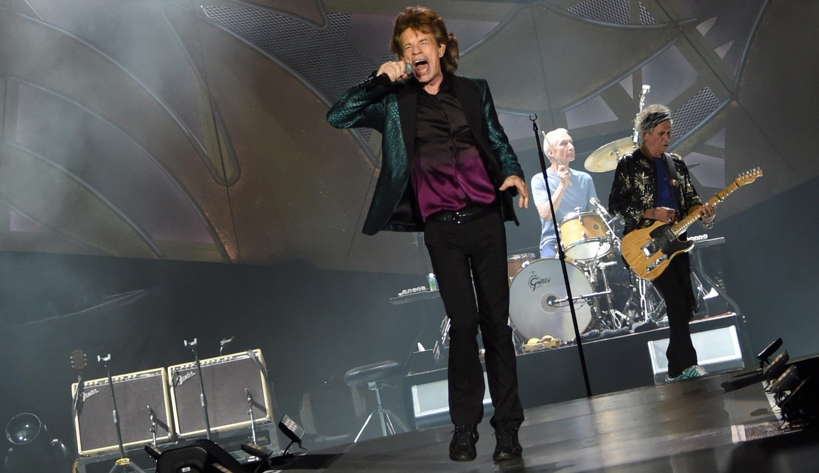 Mick Jagger, left, Charlie Watts and Keith Richards are seen performing in June at  LP Field in Nashville, Tenn. The band plays Ralph Wilson Stadium on Saturday.