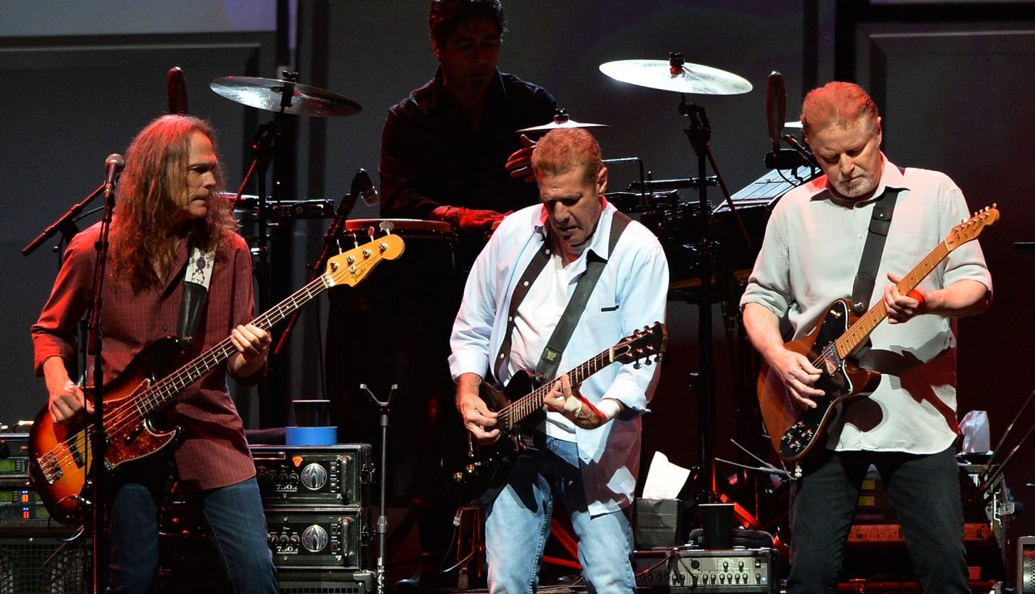 Timothy B. Schmit, left, Glen Frey and Don Henley of the Eagles perform during 'History Of The Eagles Live In Concert.' The band will play a sold-out show Saturday at First Niagara Center. (Getty Images)