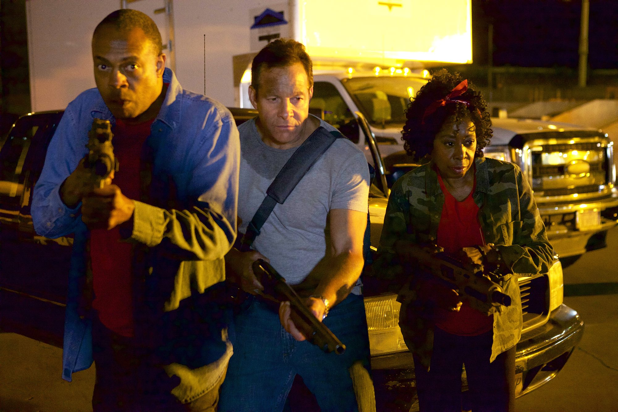 """Michael Winslow, left, Steve Guttenberg and Marion Ramsey star in """"Lavalantula,"""" premiering next Saturday on Syfy."""