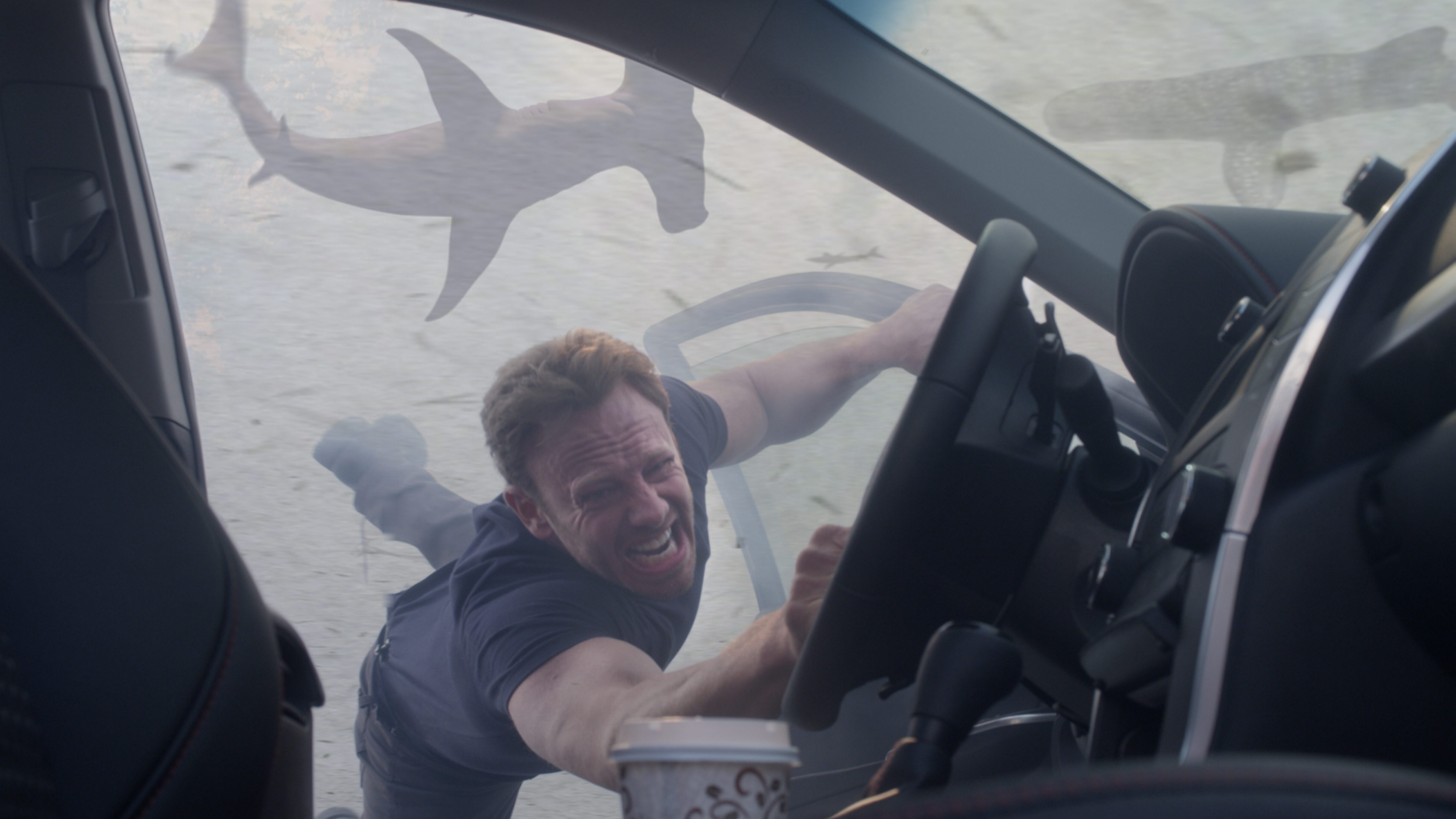 Fin Shepard (Ian Ziering) holds on for dear life as the sharknado threatens to suck him into its fishy vortex.