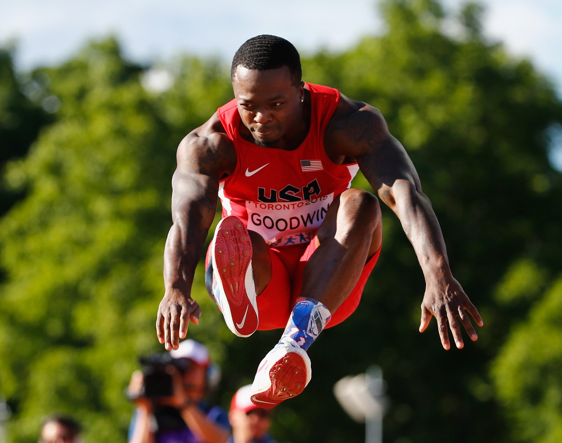 Marquise Goodwin had a top jump of 27 feet, 2 inches at the Pan American Games Wednesday, finishing behind Jeffery Henderson.