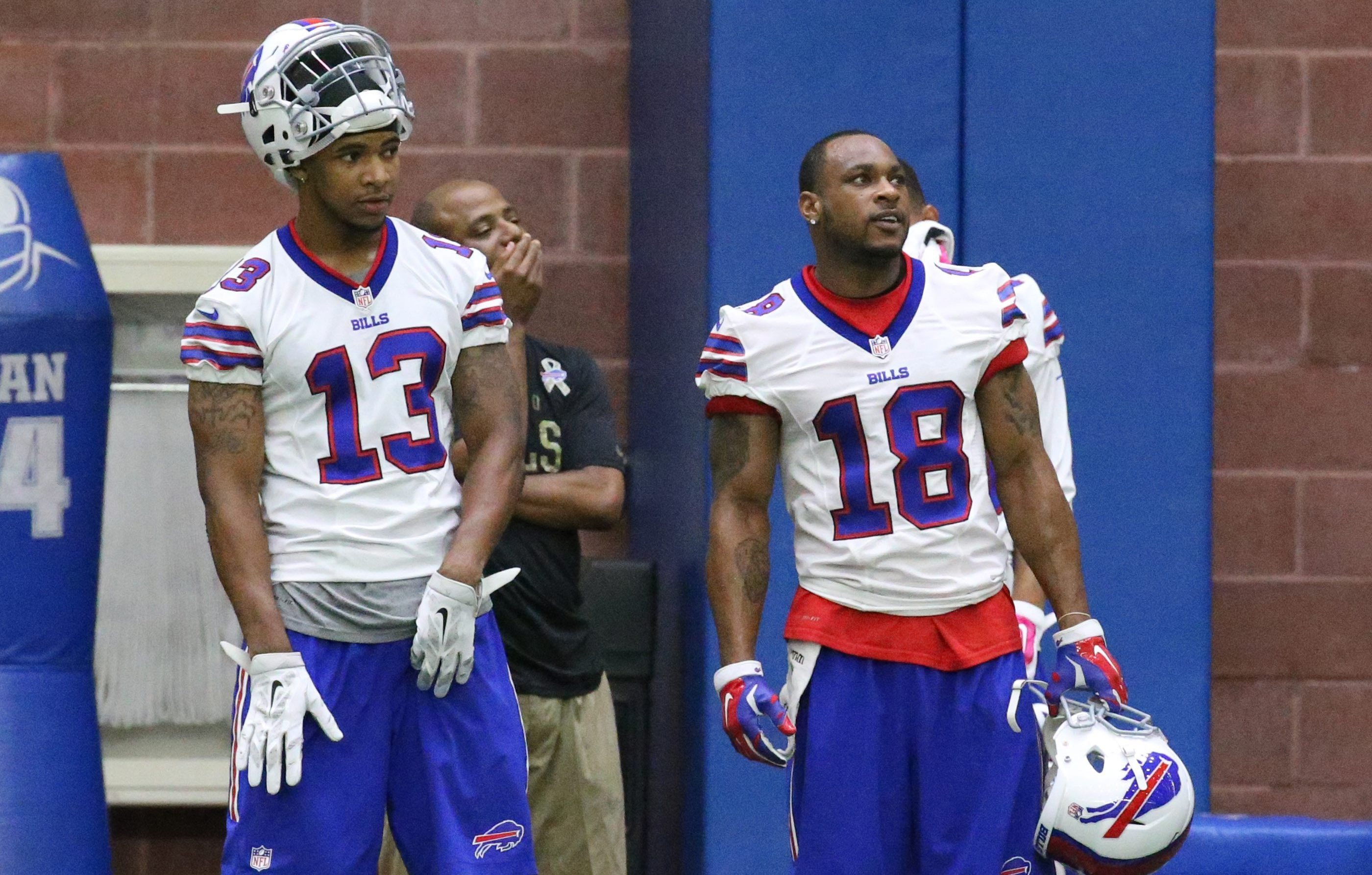 Dezmin Lewis (13) and Percy Harvin (18) are two of the players who are on the Bills roster entering training camp who weren't on the roster at the end of the 2014 season.
