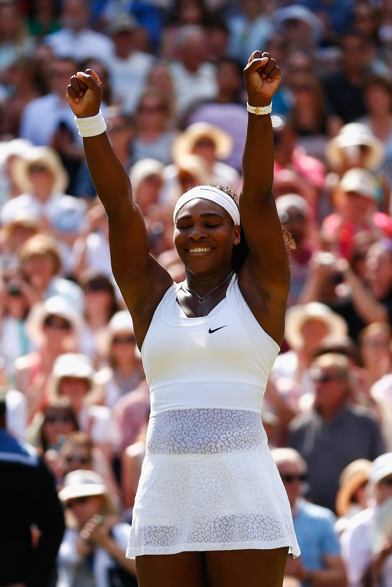 Serena Williams celebrates her victory over Garbine Muguruza of Spain at Wimbledon on Saturday.