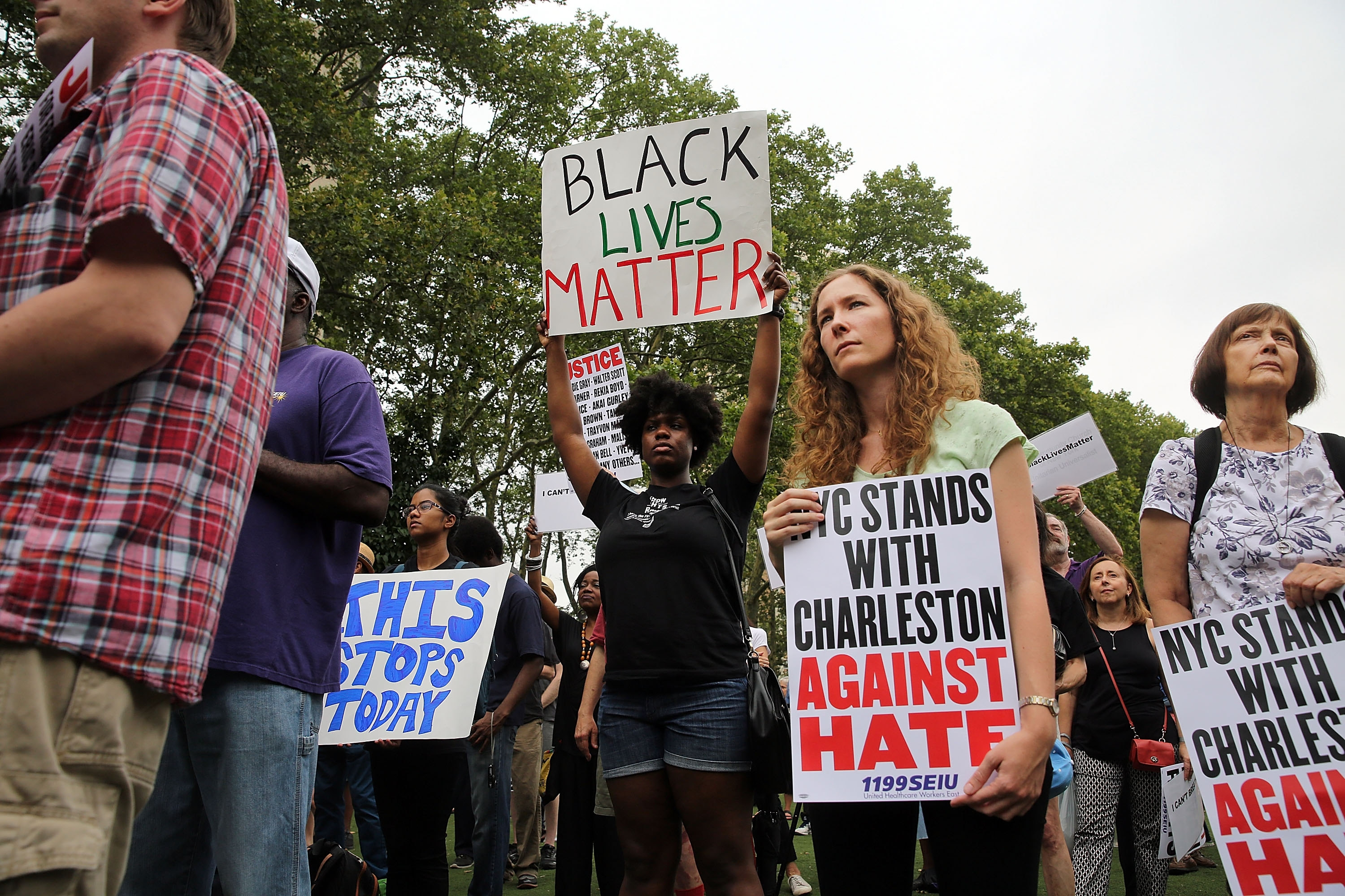 A string of killings of black men by police has shaken confidence in law enforcement, and sparked demonstrations such as this one earlier this month in Brooklyn. (Getty Images)