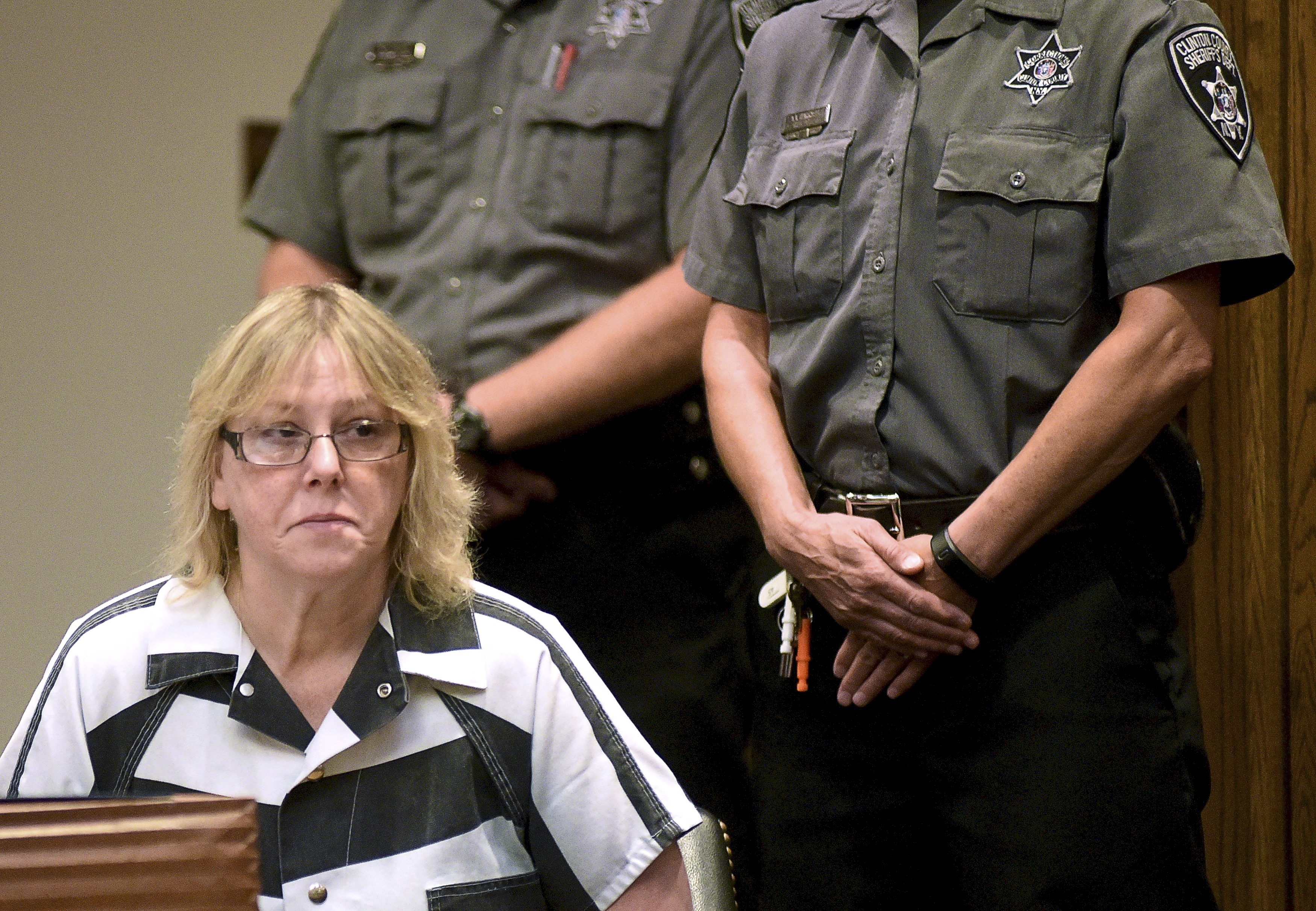 Joyce Mitchell appears at Clinton County  Court in Plattsburgh on Tuesday, where she pleaded guilty to charges that she helped two convicted killers escape from the Clinton Correctional Facility.