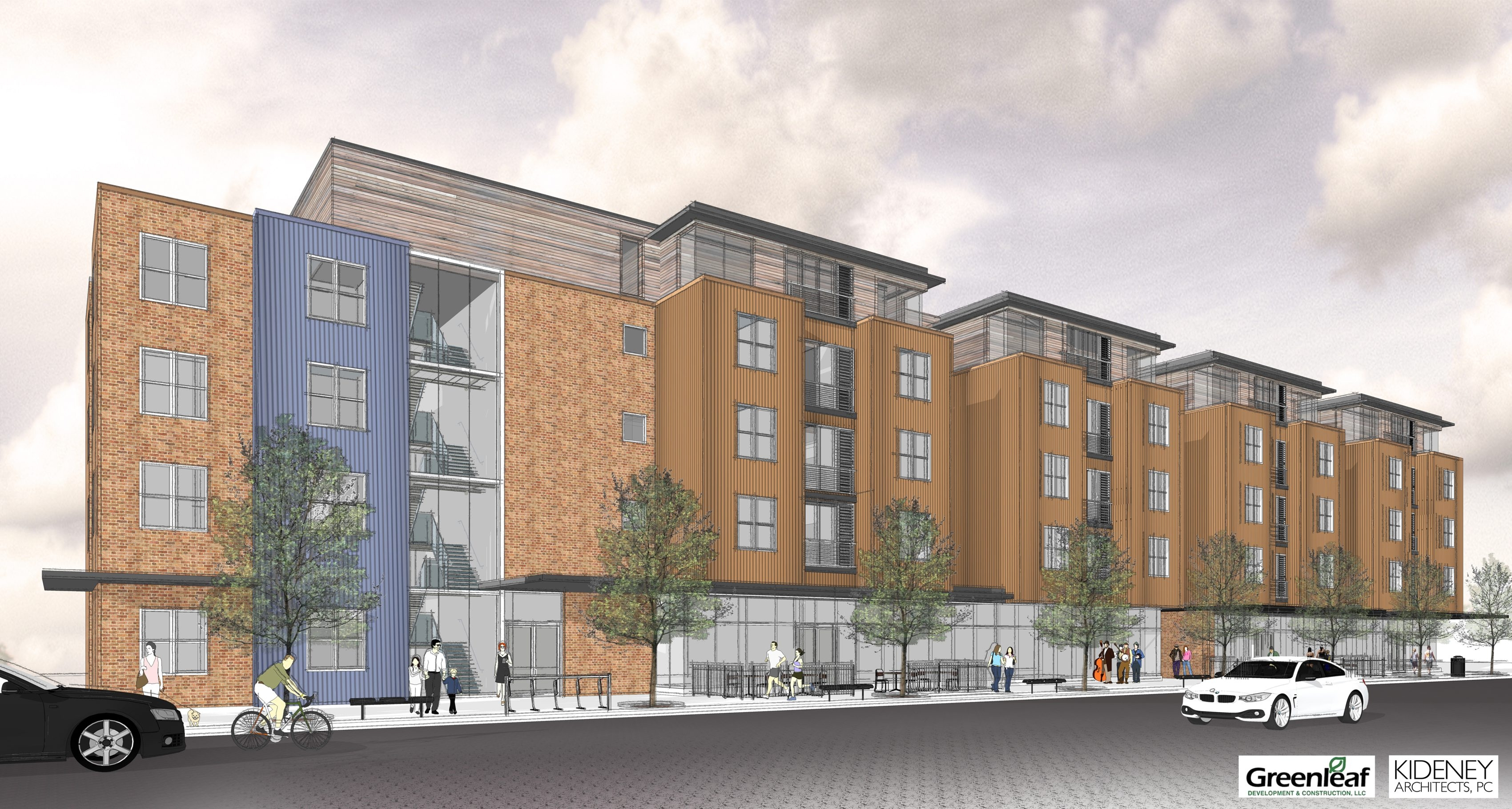 Design above  shows Greenleaf student housing at Grant Street and Rockwell Road. The proposed mixed-use development will include neighborhood retail and residential space to accommodate 300 students in three and four-bedroom apartments.
