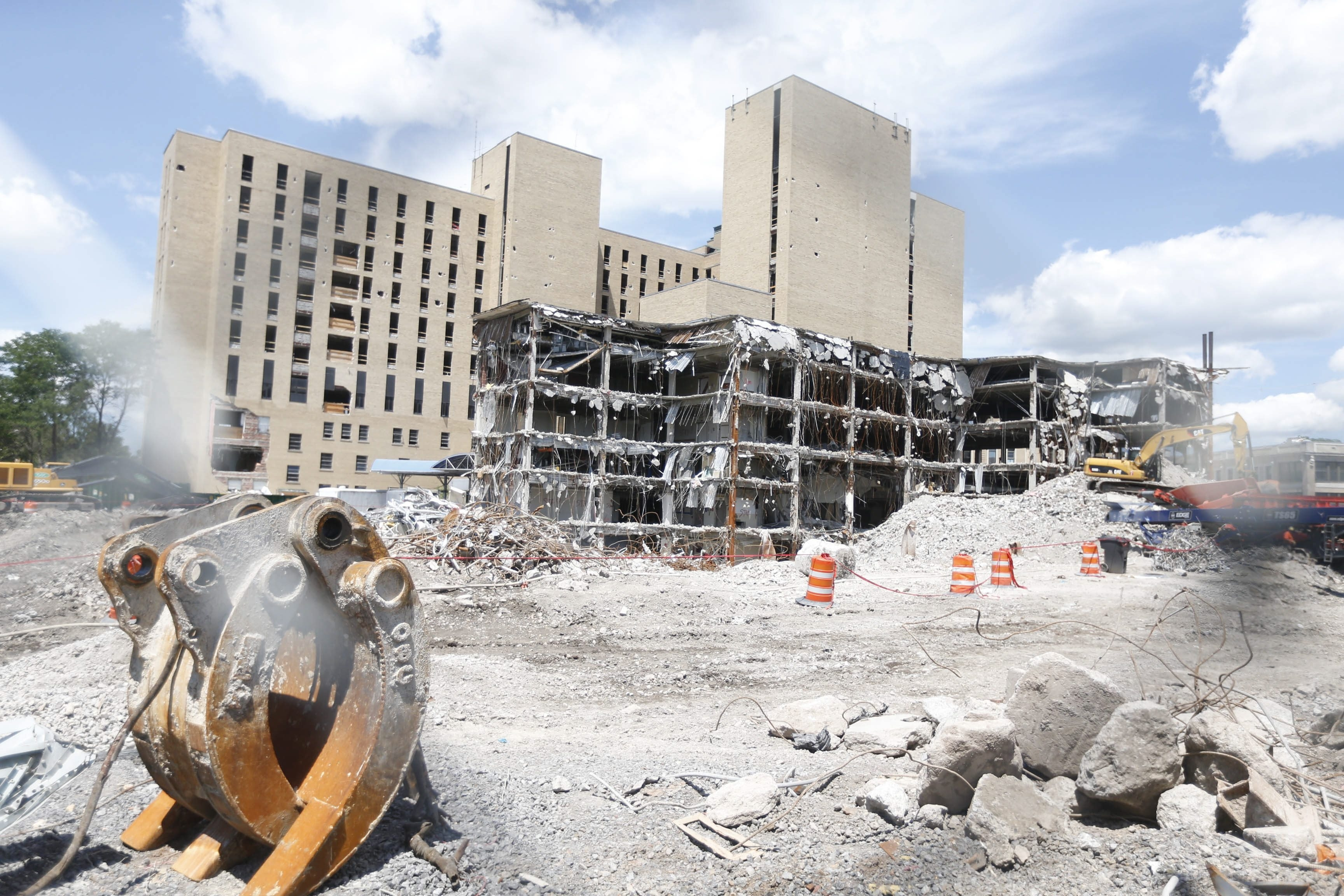 The implosion of the former Millard Fillmore Gates Circle Hospital was approved Wednesday by the Planning Board. The site will soon be home to apartments, townhouses, condos, a senior living community, a gym, a grocery store and office spaces.