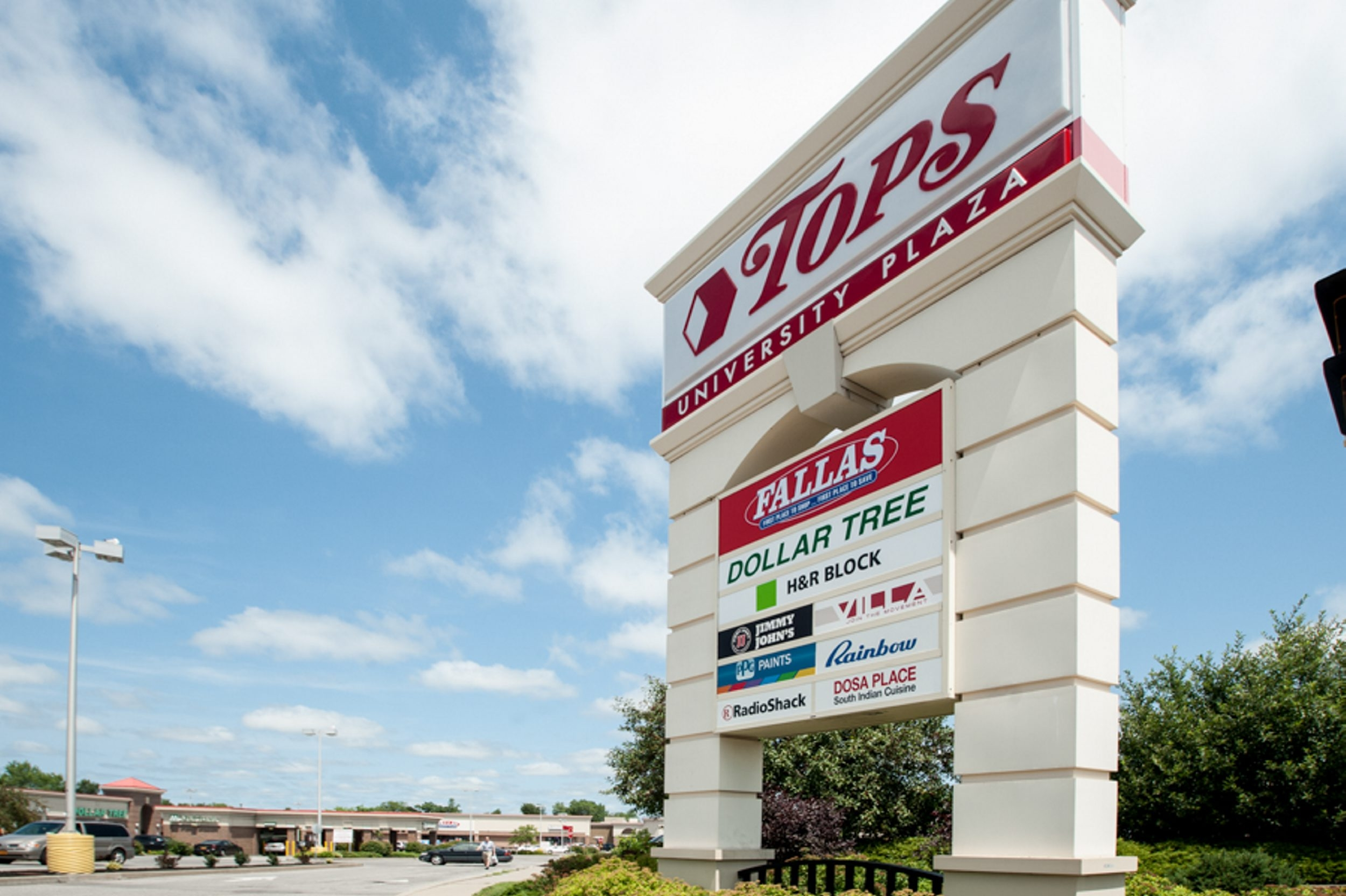 The  University Plaza on Main Street near Bailey Avenue in Amherst is one of five plazas being auctioned that are anchored by Tops.Markets stores.