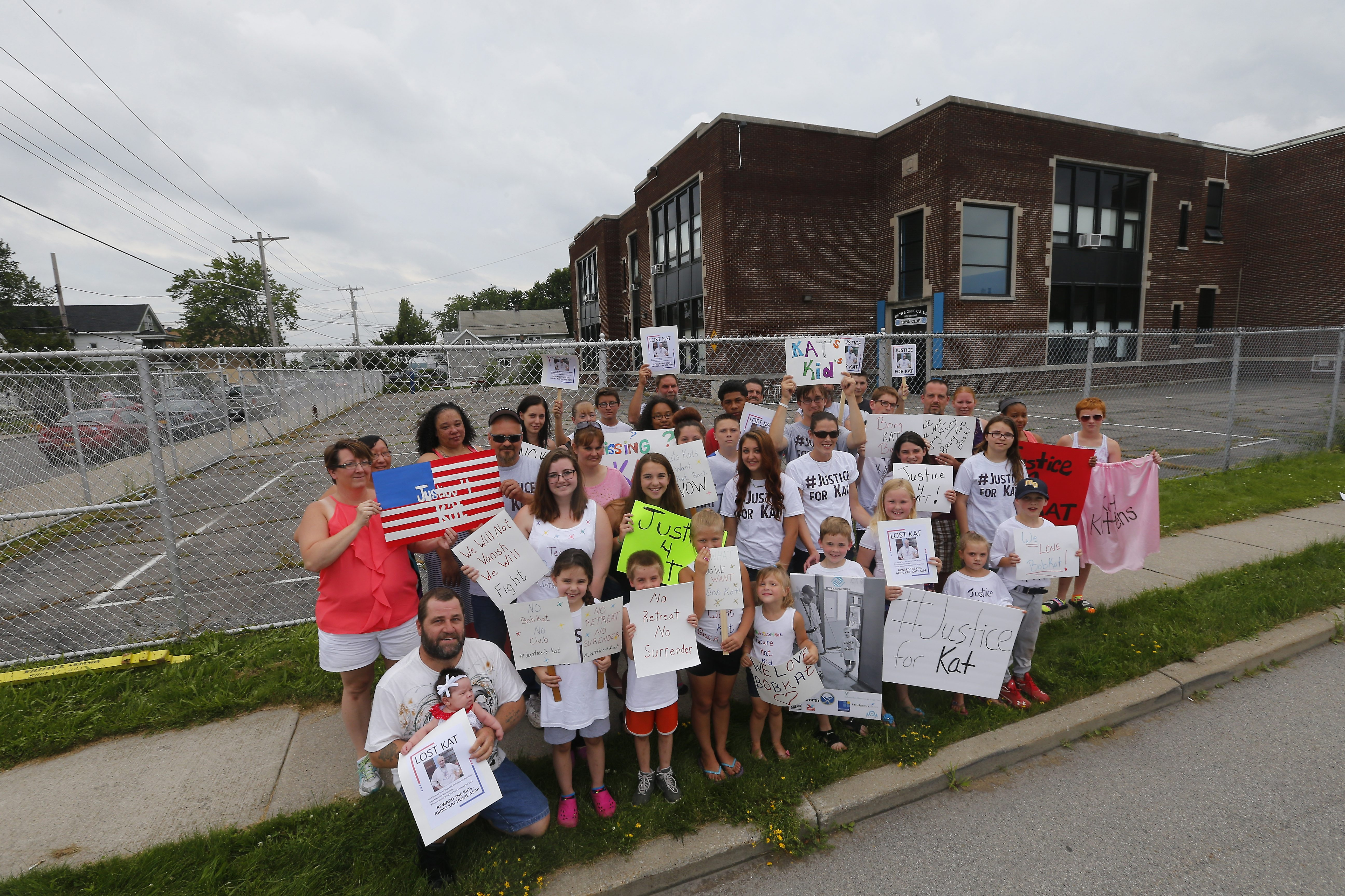 """Supporters of Robert """"BobKat"""" Nowak gather outside the Town Boys & Girls Club in Buffalo last Sunday."""