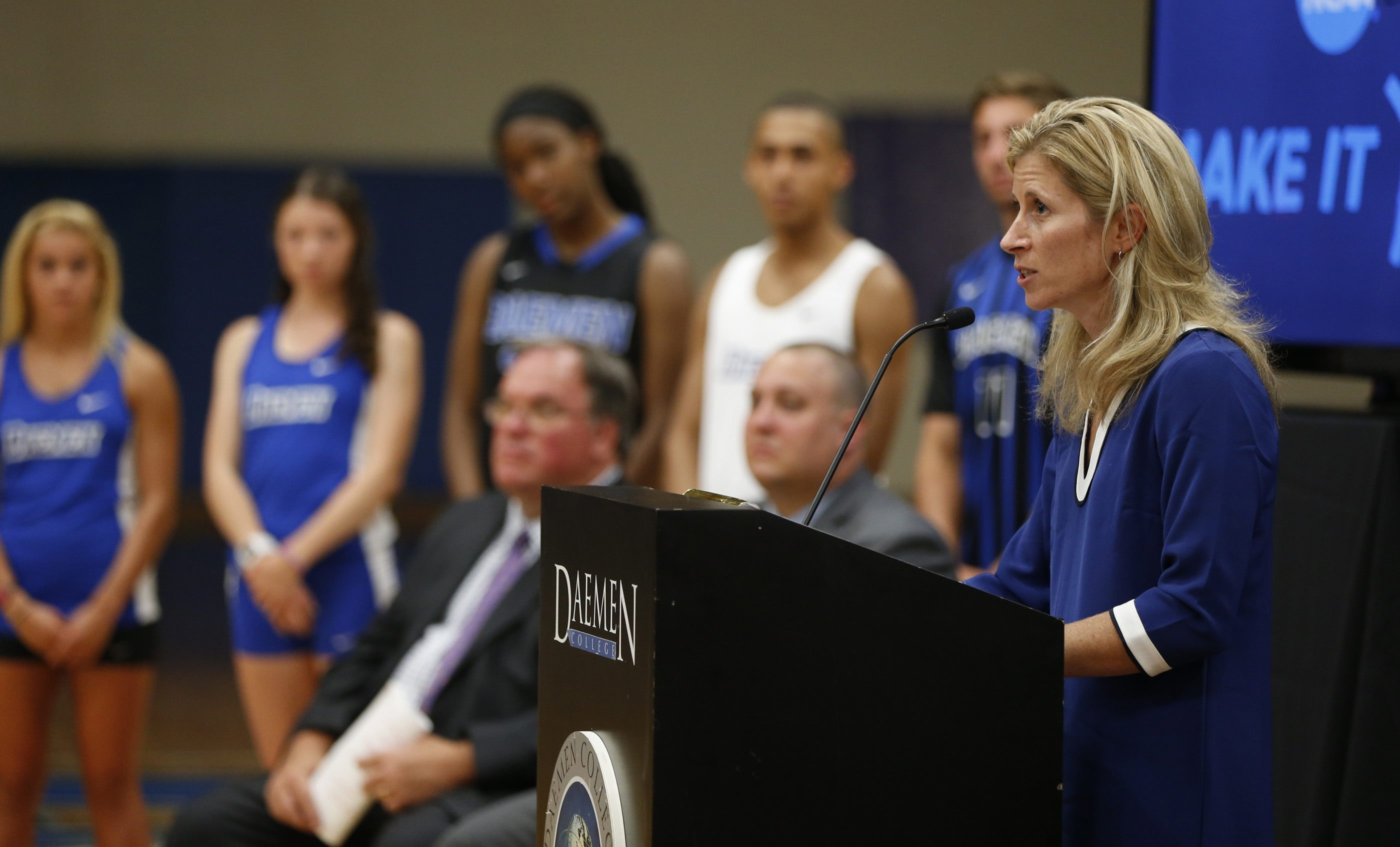 Bridget Niland, Director of Athletics at Damen College speaks during a news conference at Damen, announcing it has received NCAA clearance to fully participate at the Division II  level on Monday, July 20, 2015.  (Harry Scull Jr / Buffalo News)