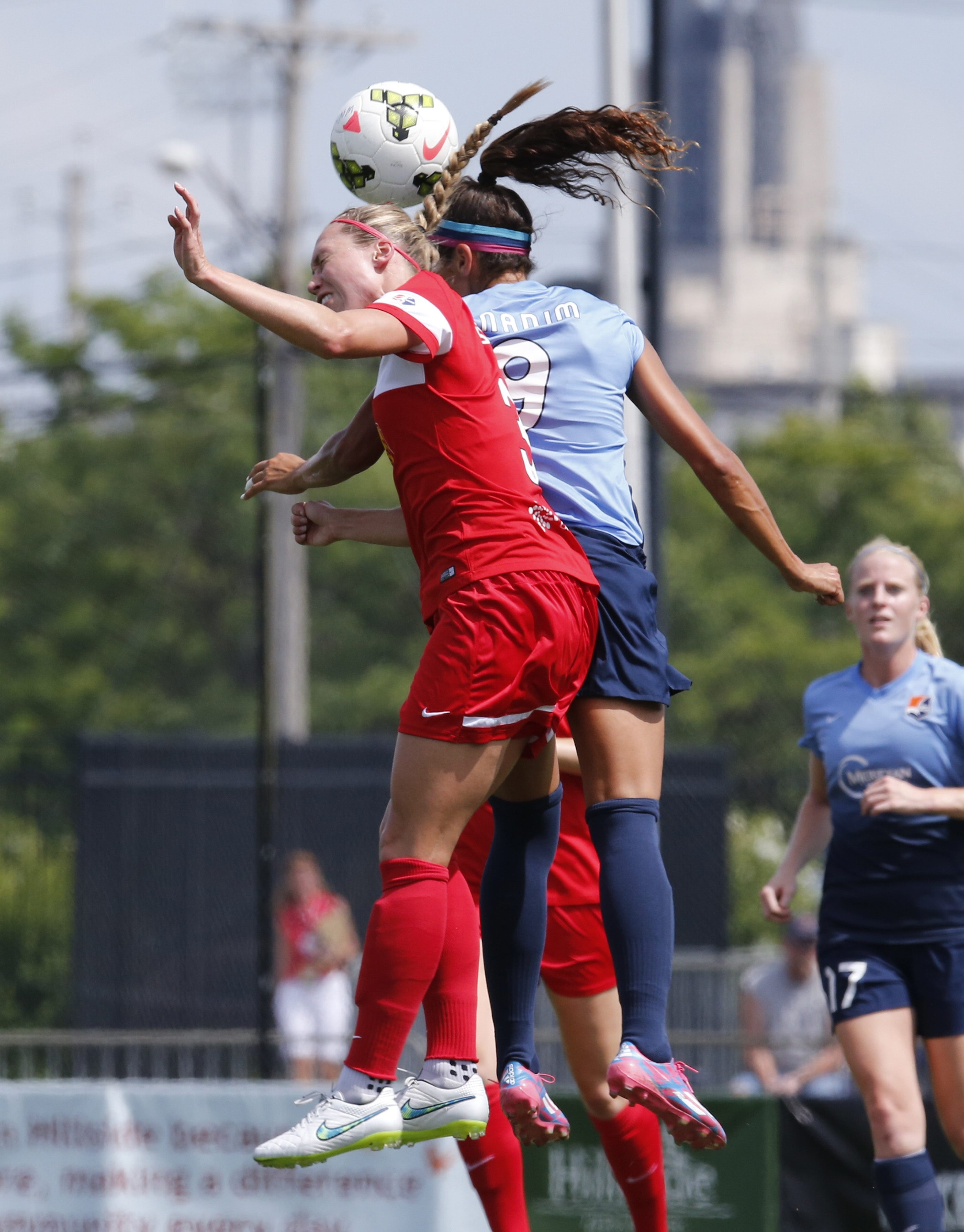 WNY Flash's Whitney Engen and Sky Blue FC's Nadia Nadim challenge for a header during Sunday's match at Sahlen's Stadium in Rochester. Nadim scored for Sky Blue in the 3-3 tie.