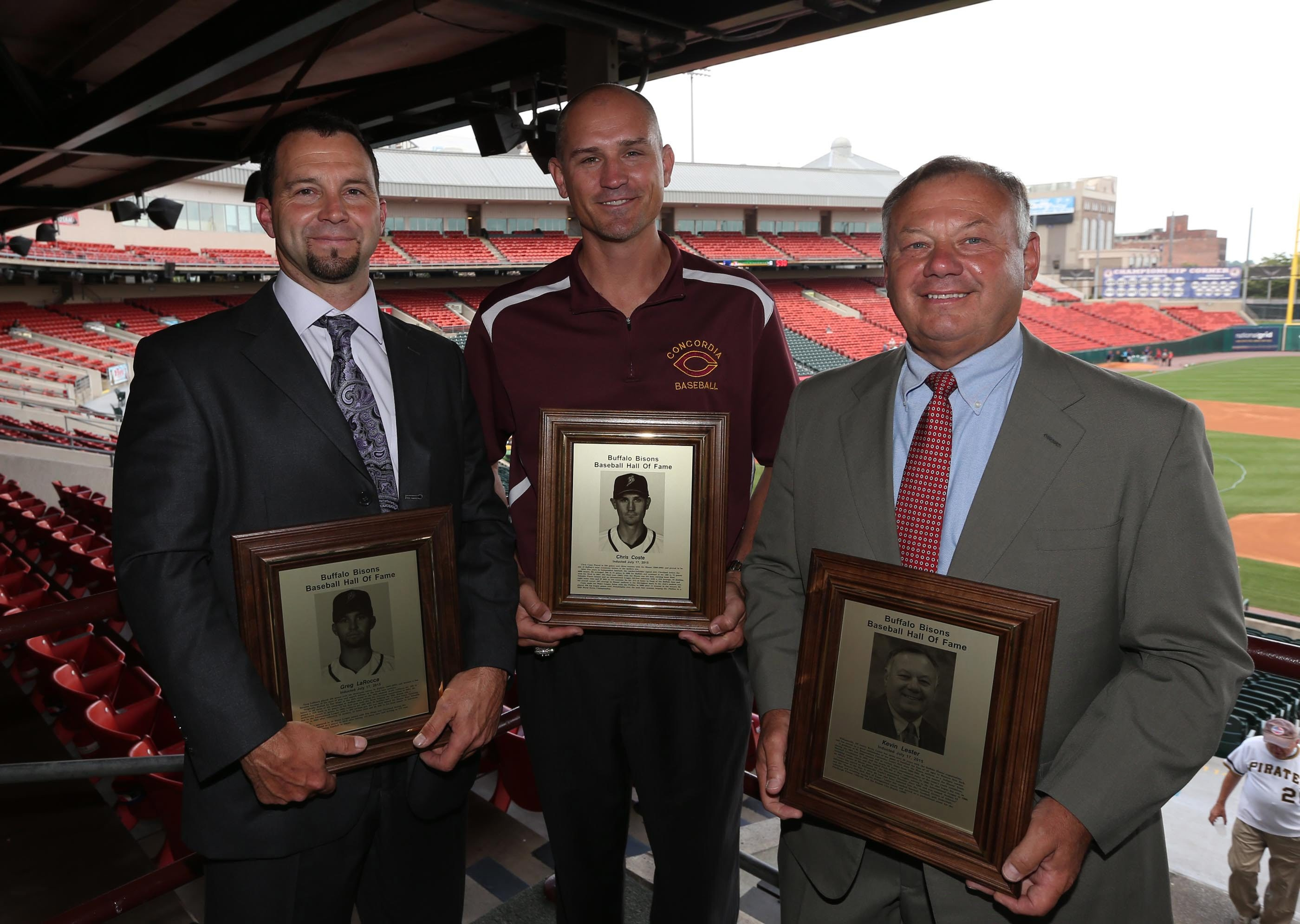 Greg LaRocca, Chris Coste and Kevin Lester were inducted into the Baffalo Baseball Hall of Fame tonight at Coca-Cola Field in Buffalo,NY on Friday, July 17, 2015.  (James P. McCoy/ Buffalo News)