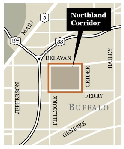 Map shows Northland Corridor development project on the east side of Buffalo