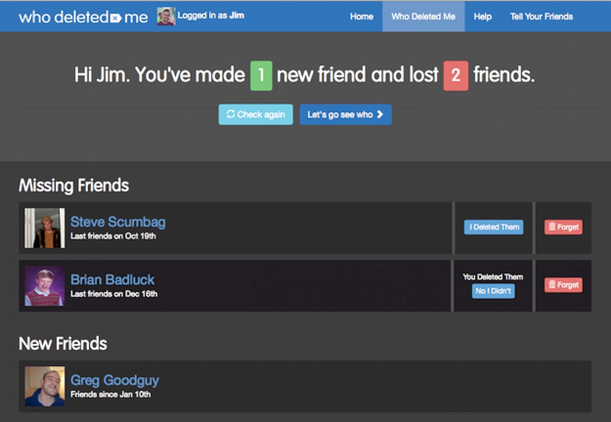 Who Deleted Me is an app that gives social media users a chance to check out who unfriended them on Facebook.