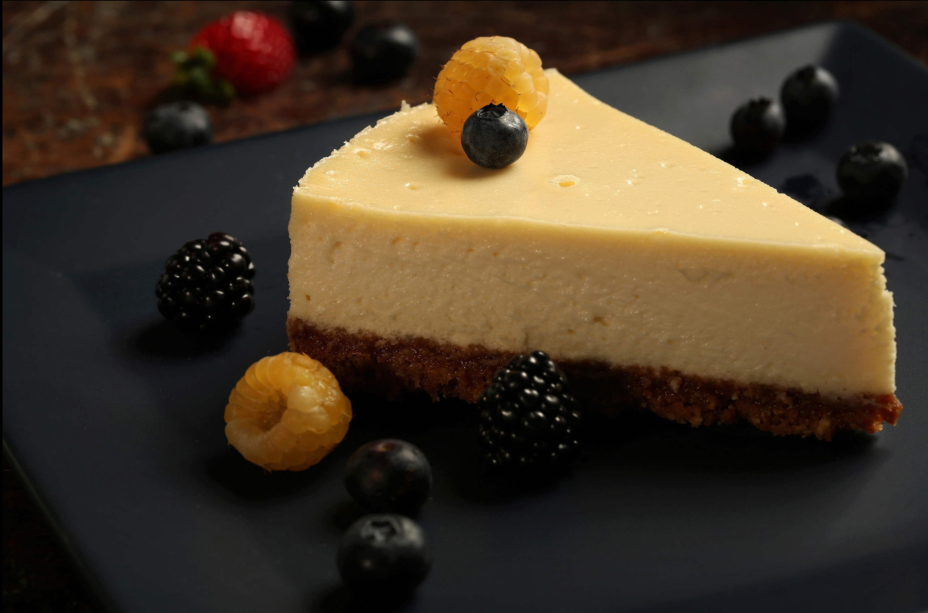 Fresh, plain goat cheese brings a subtle tang and dense texture to a creamy, soft cheesecake.