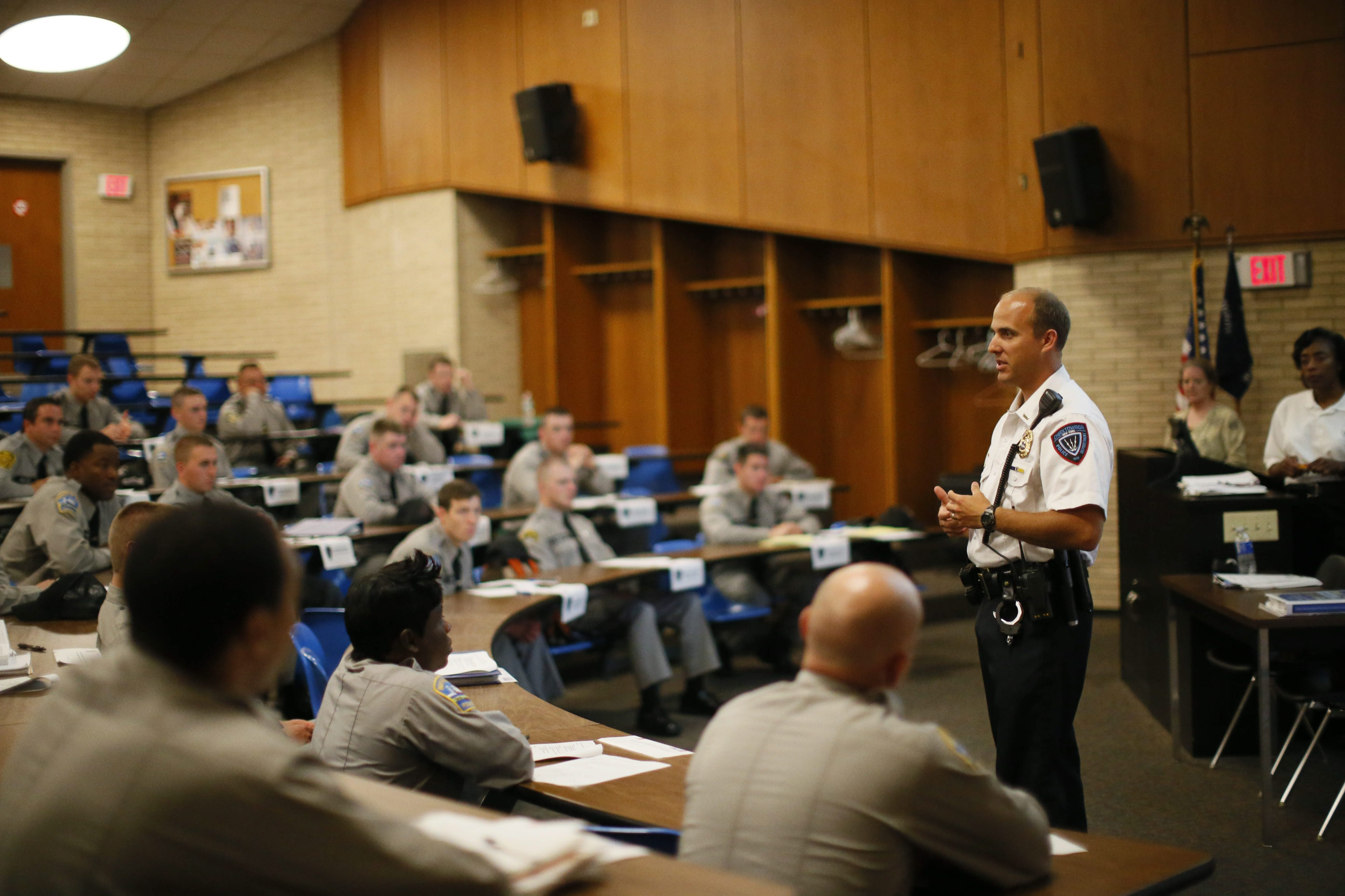 Cheektowaga Police Patrol Lt. Brian Gould is one of three training instructors teaching cadets from local police agencies how to identify and properly deal with the mentally ill at the Law Enforcement Academy at ECC, Monday morning, June 3, 2013.  (Derek Gee/Buffalo News)